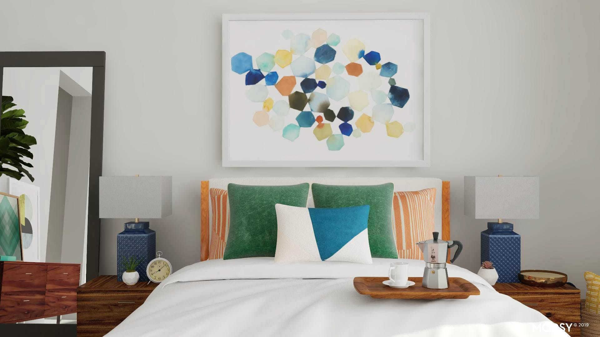 A Colorful Spin On A Modern Masculine Bedroom