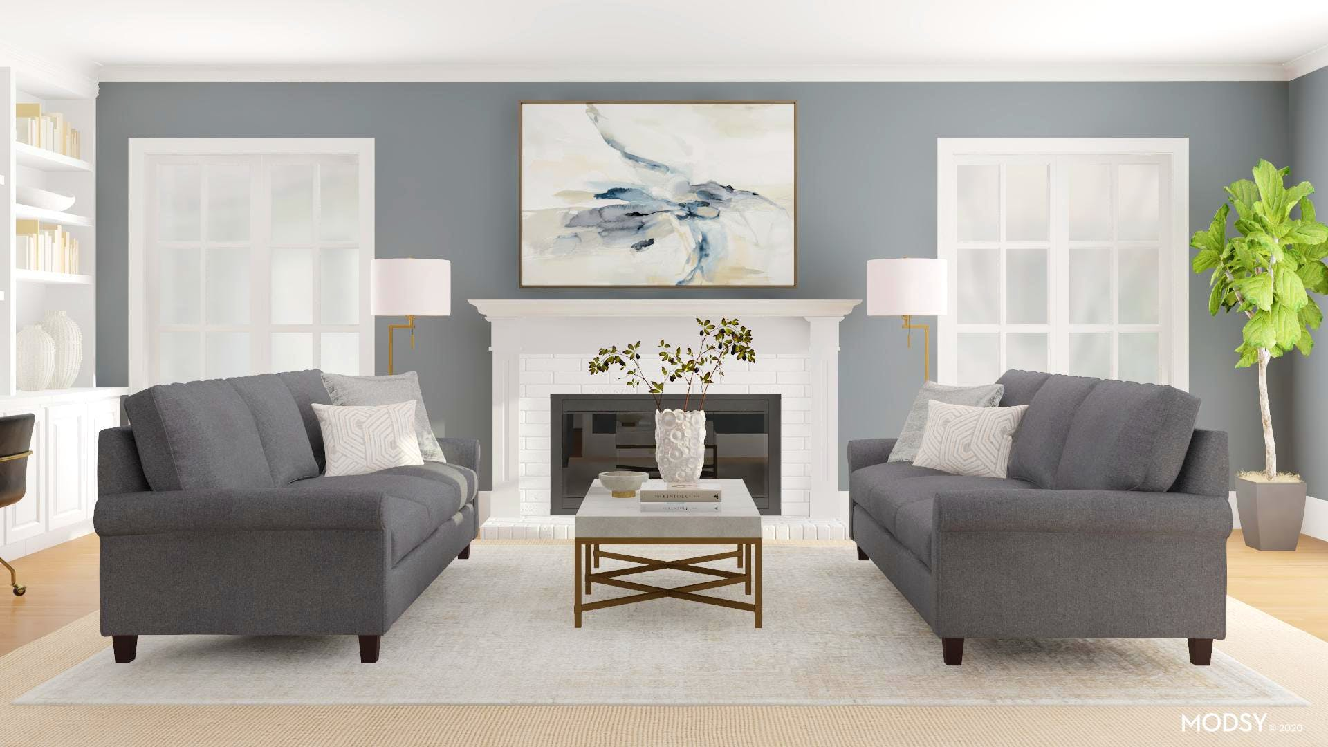 Transitional Living Room With Twin Sofas