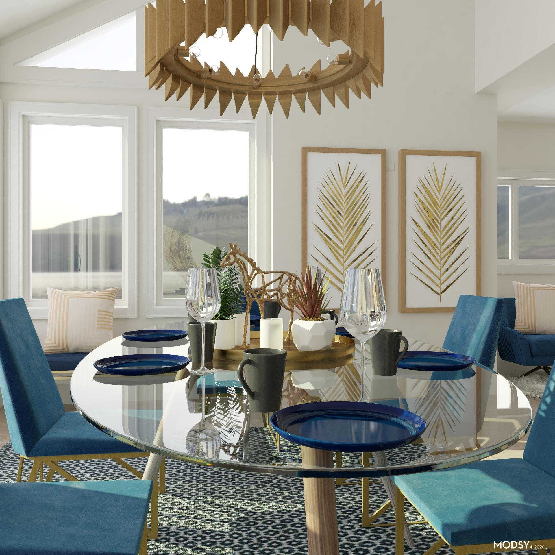 Centerpieces and Art in Glam Dining Room