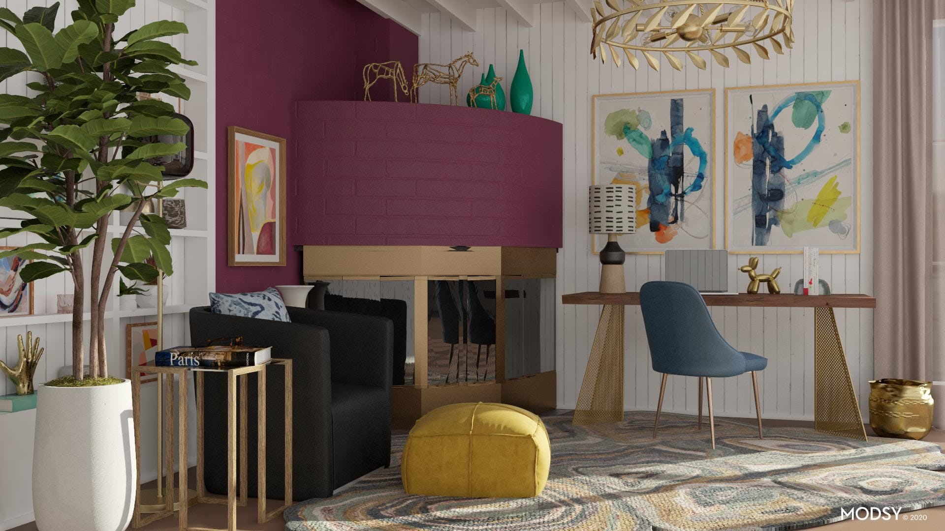 Rich Jewel Tones In A Contemporary Office
