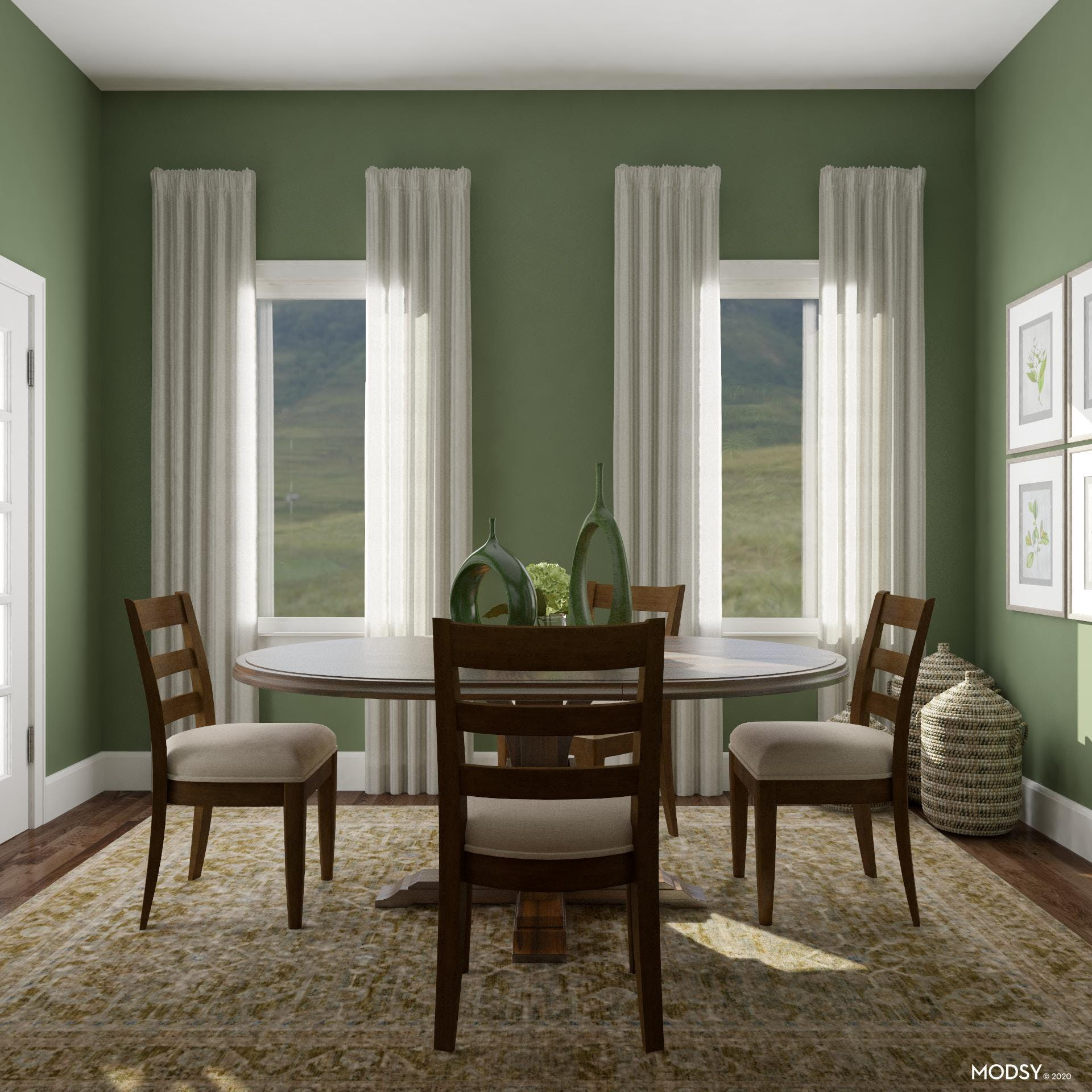 Traditional style and Green Color Palette.