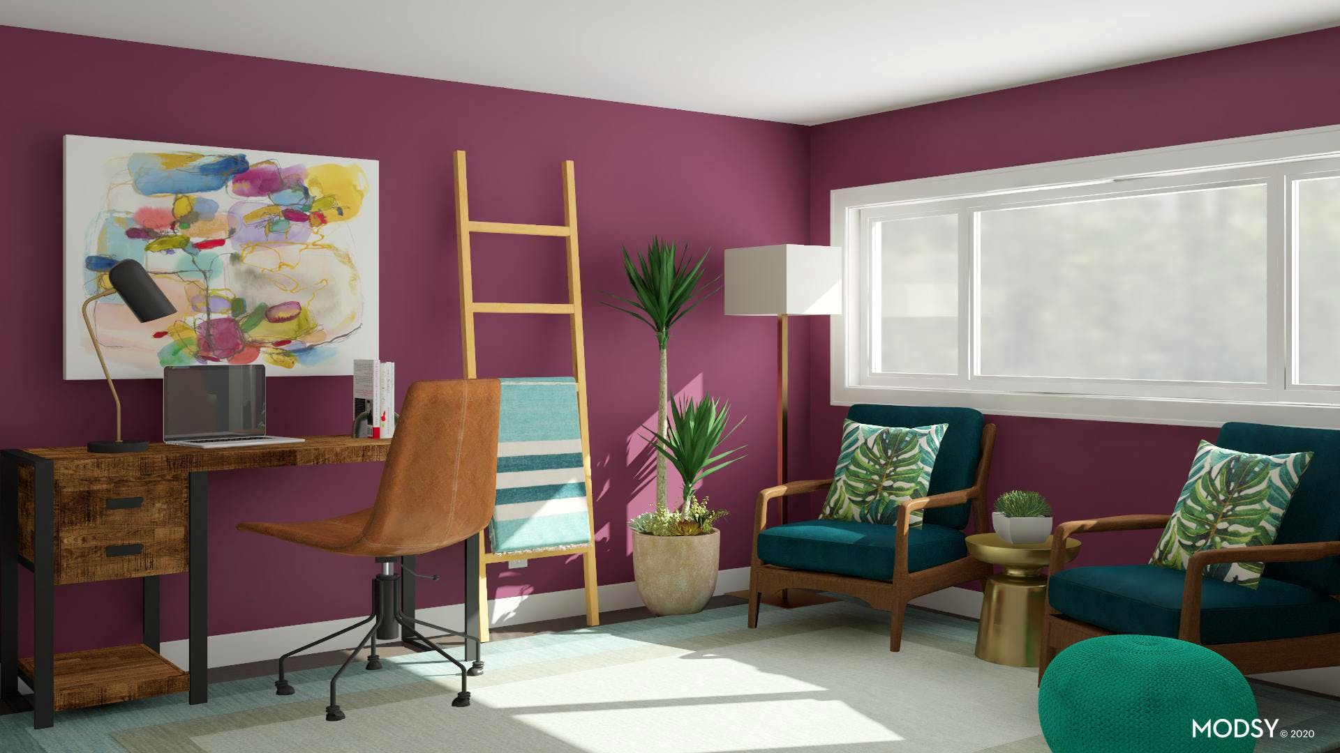 Tropical Jewel-Toned Office