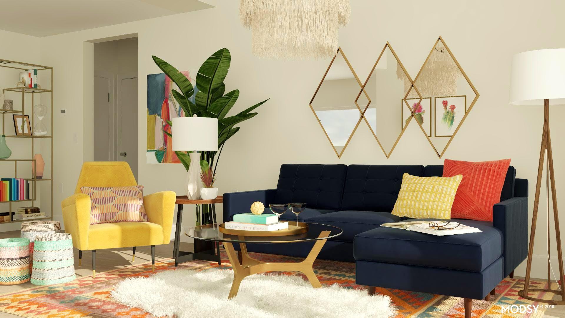 Multi-Color Mid-Century Living Room