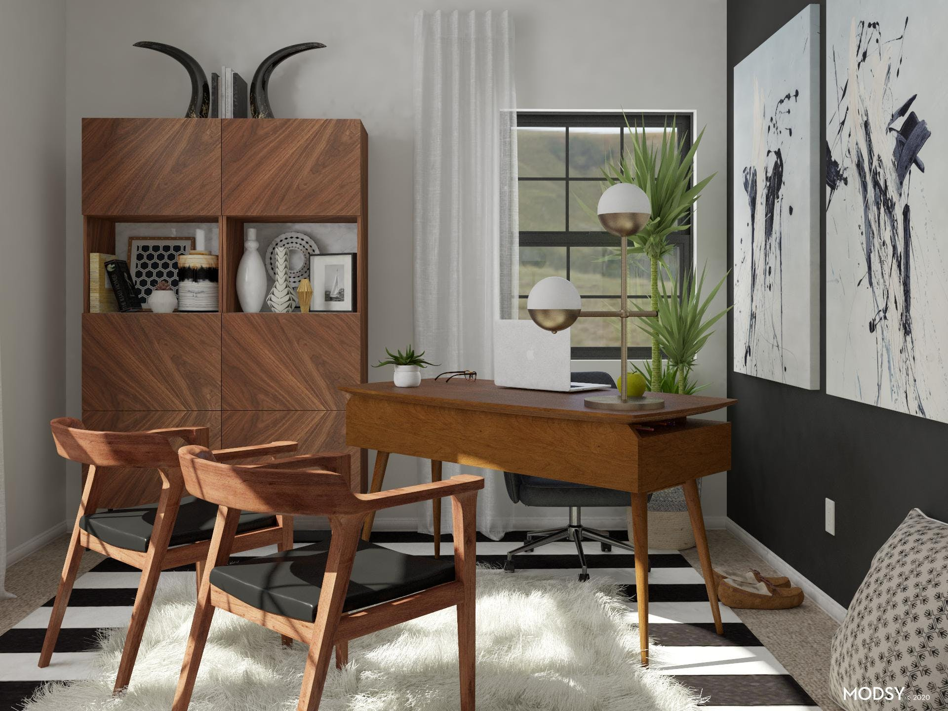 Black, White And Bold: Mid-Century Mod Office