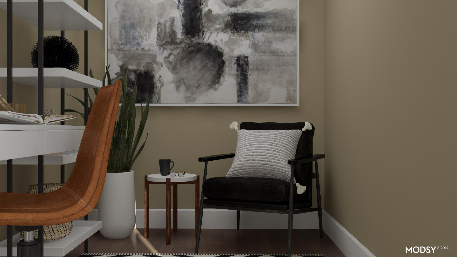 Eclectic Black And White Office