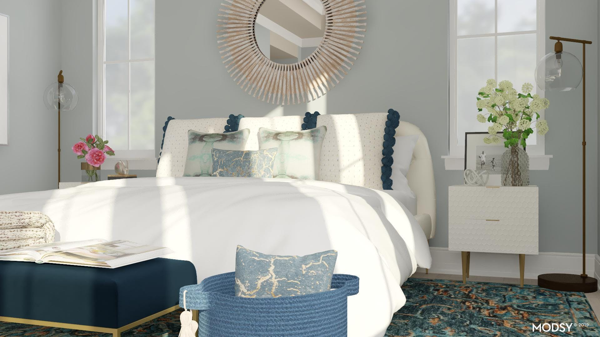 A Feminine Touch Calms This Mid-Century Modern Bedroom
