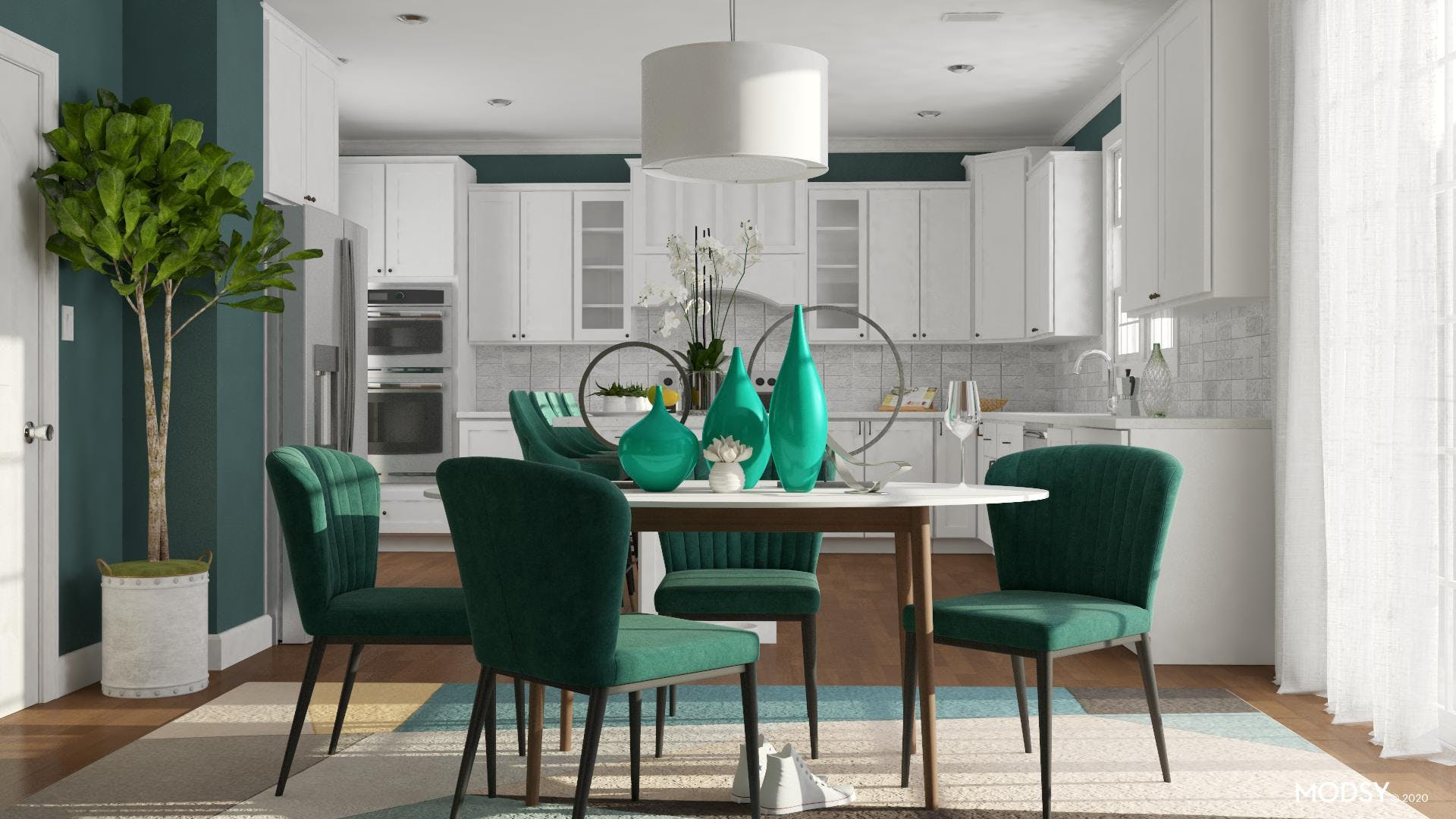 Modern, Green With Envy, Dining Room