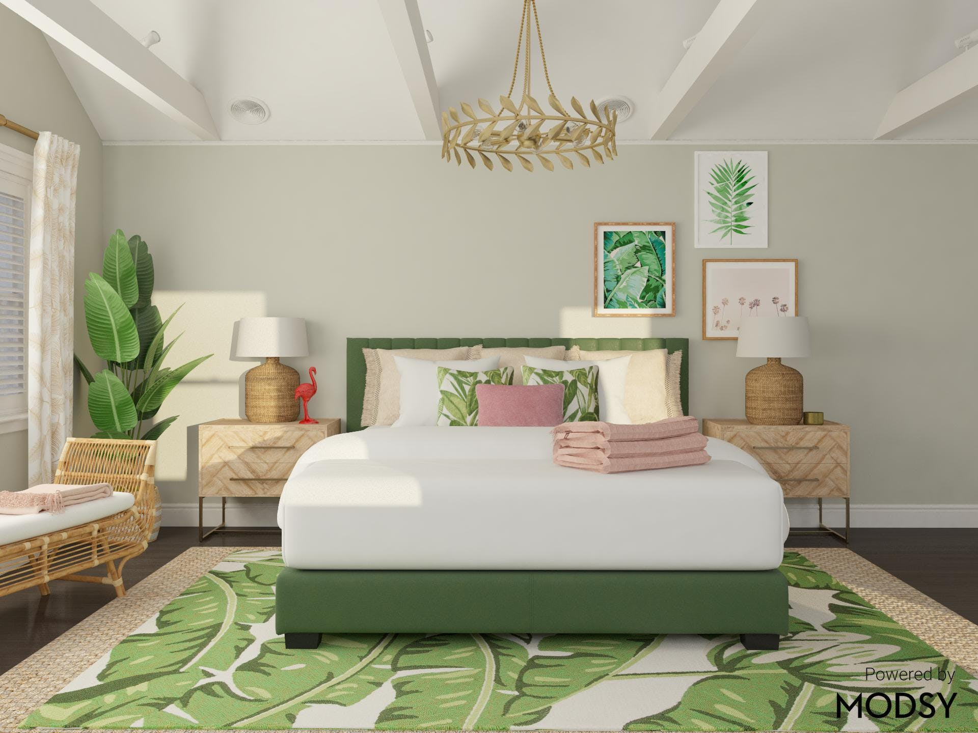 Bold Tropical Inspired Bedroom in Modern Eclectic Style