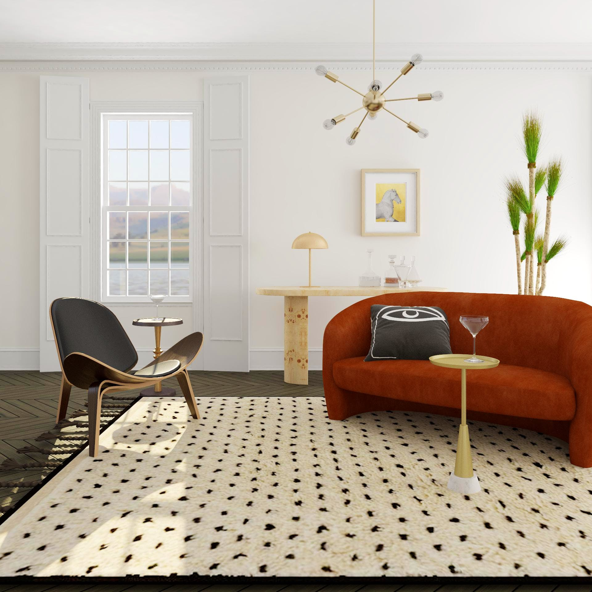 Playful and Poised Living Room