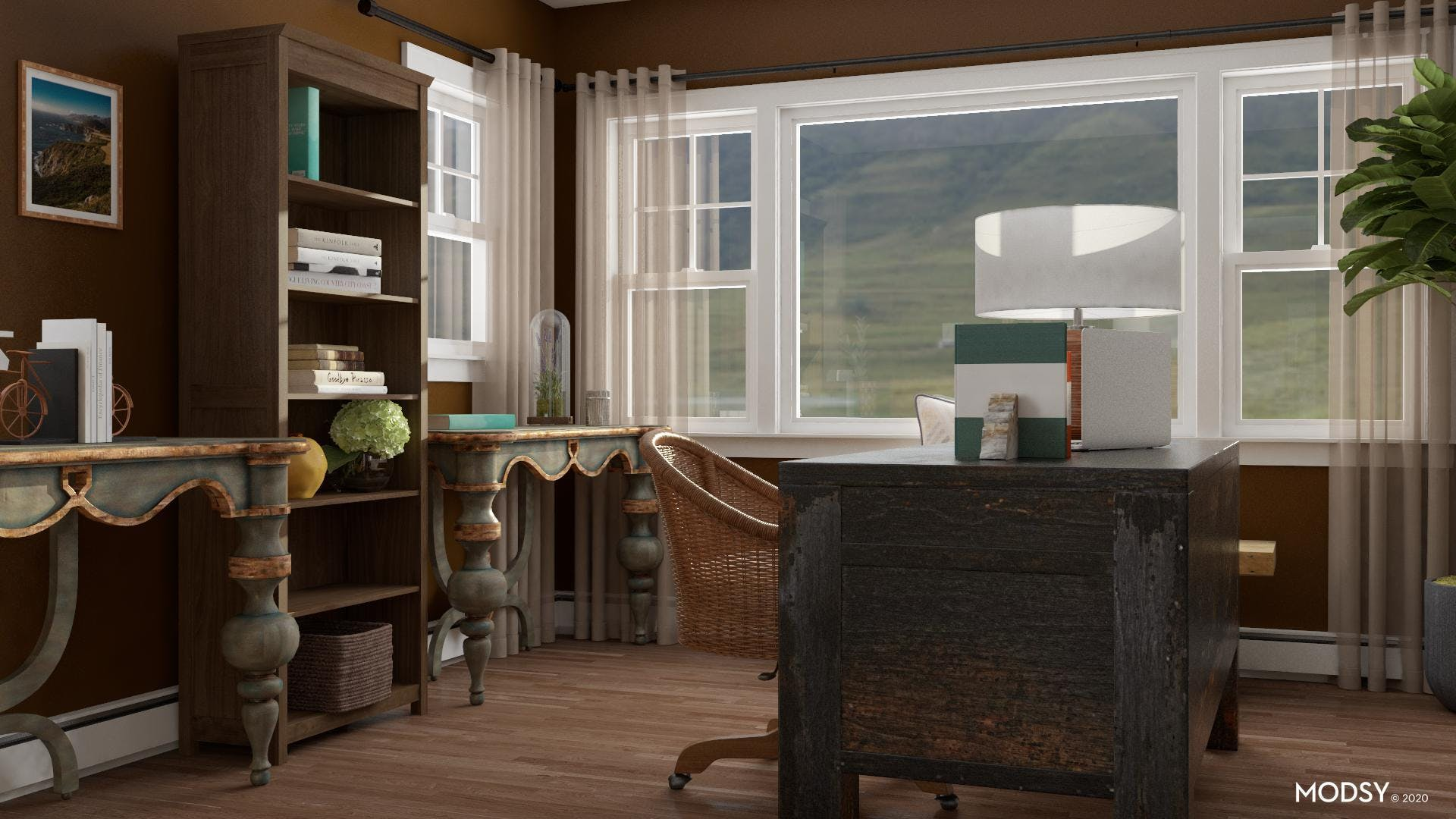 Work From Home In A Traditional Earth Tone Office