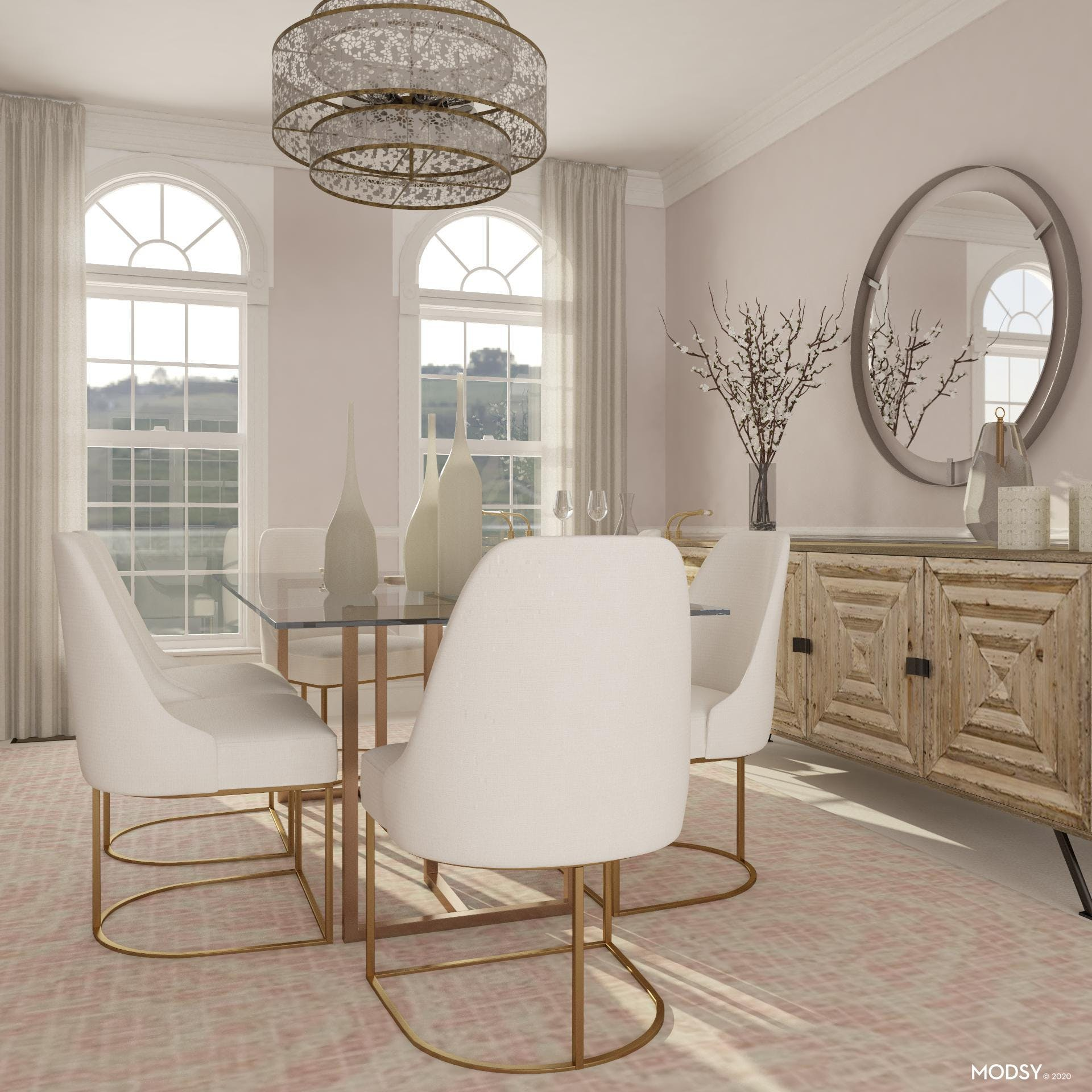 Glam Dining Room in Pastels