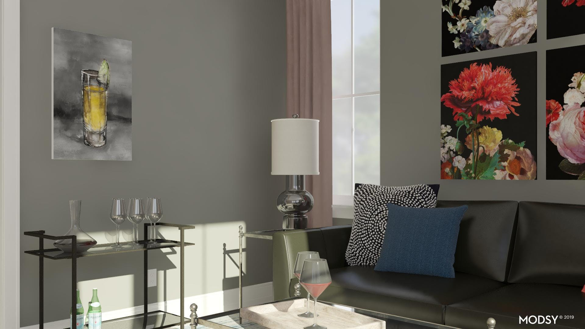 Colorful Refined Modern Living Room