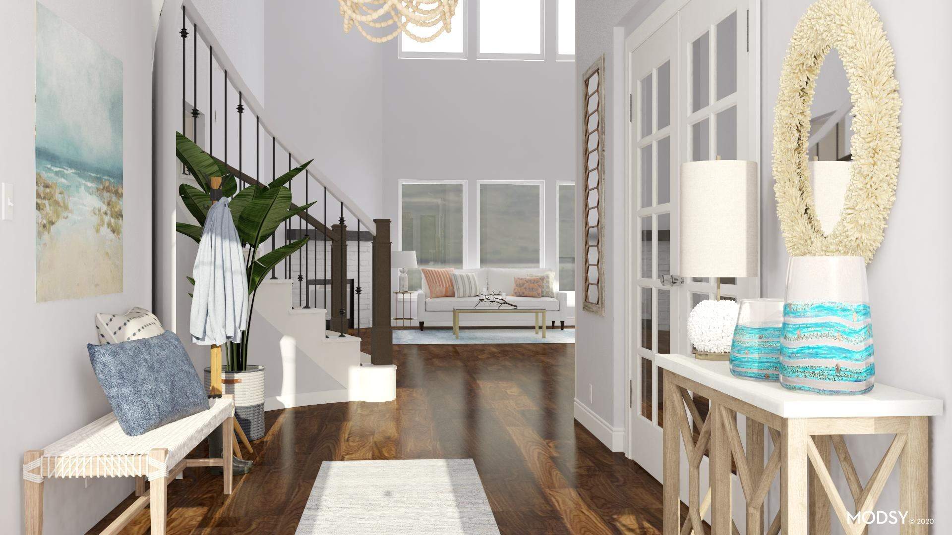 Open and Airy Coastal Entryway