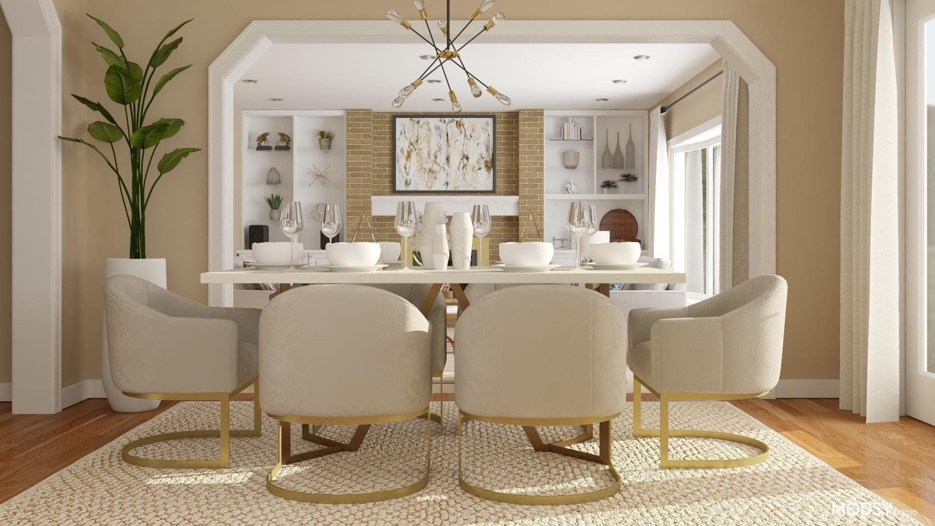Glamorous Neutral Toned Dining Room