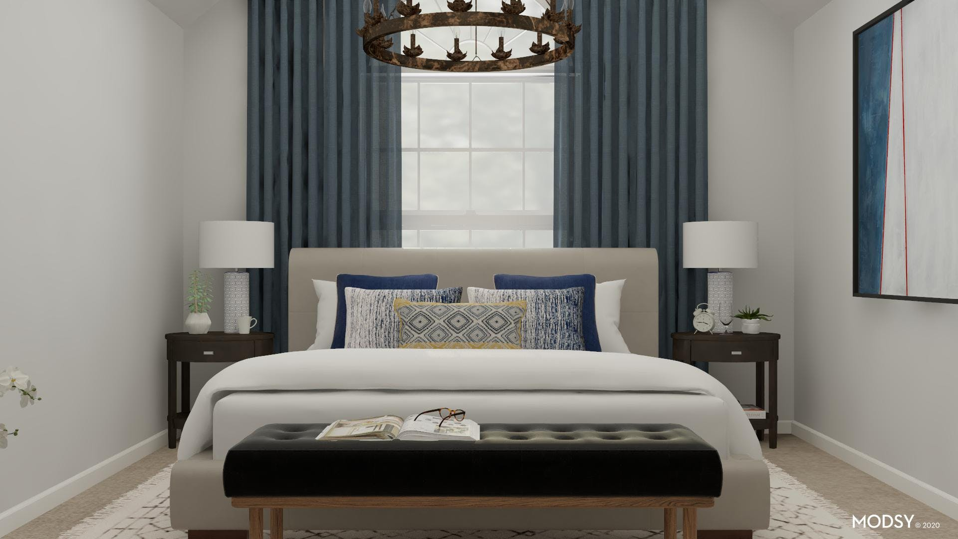 Balance and Blue Accents of a Traditional Bedroom