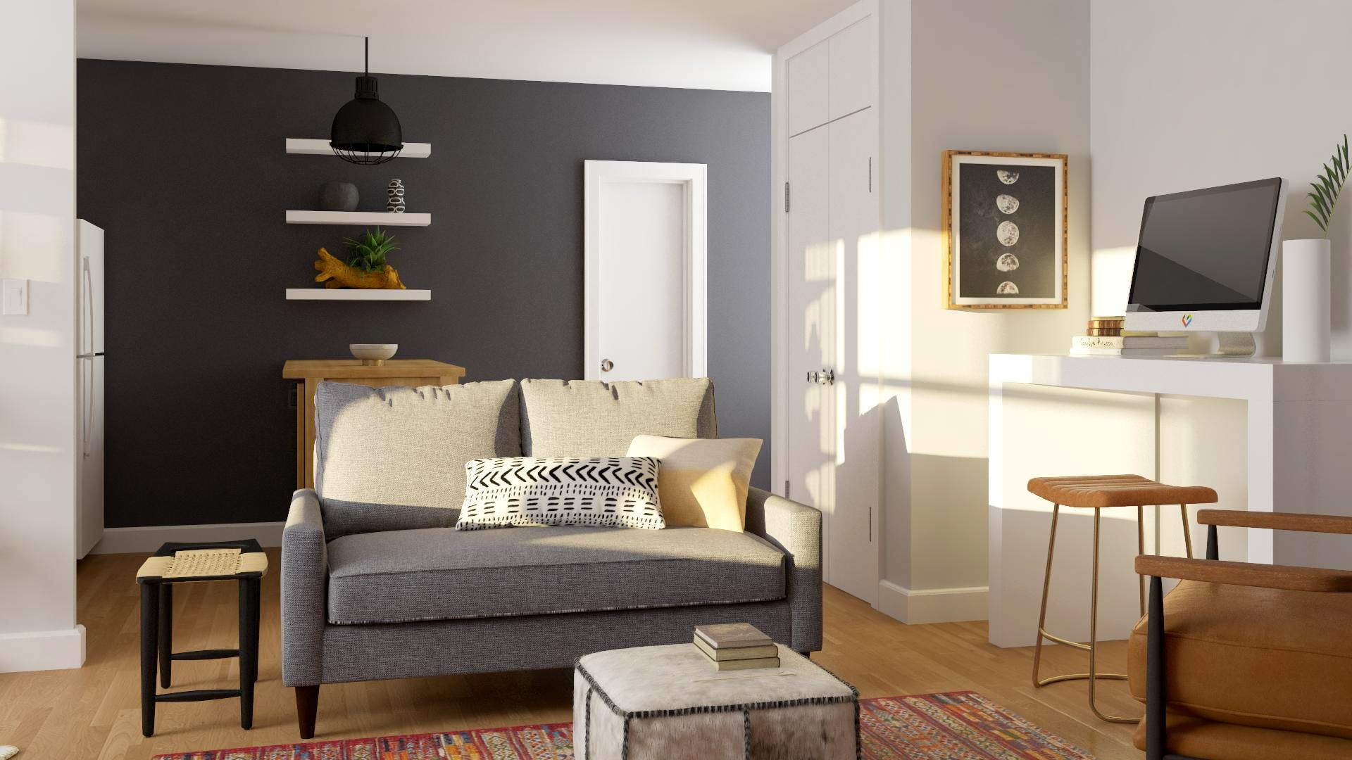 Small Apartment with furniture Pulling Double-Duty Living Area