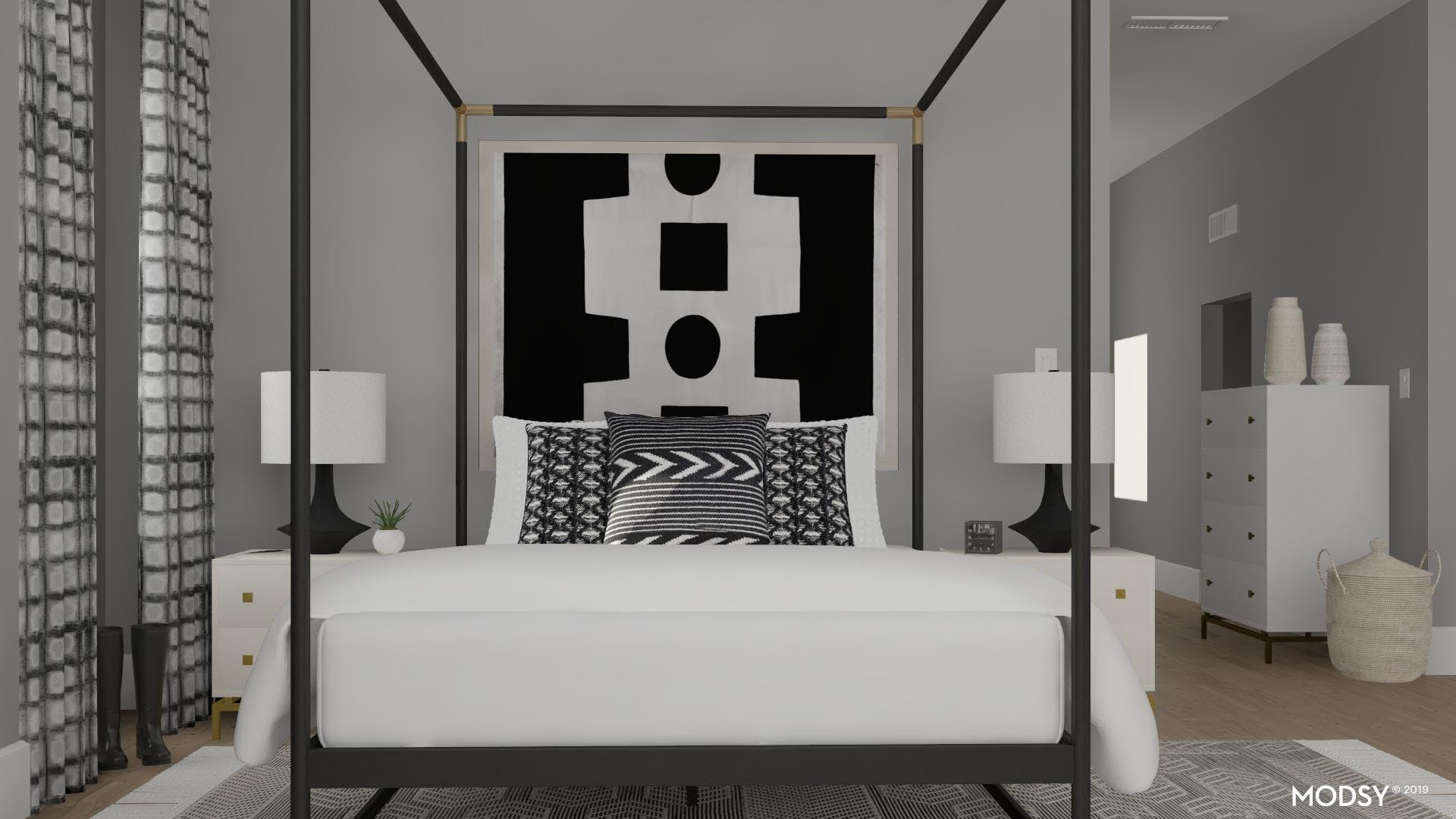Bold Black and White Contemporary Bedroom