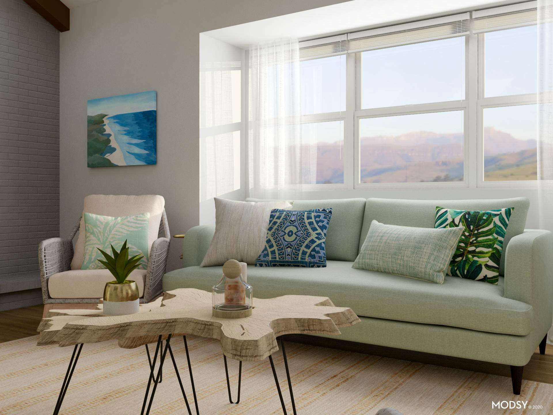 Soft Green Coastal Living Room