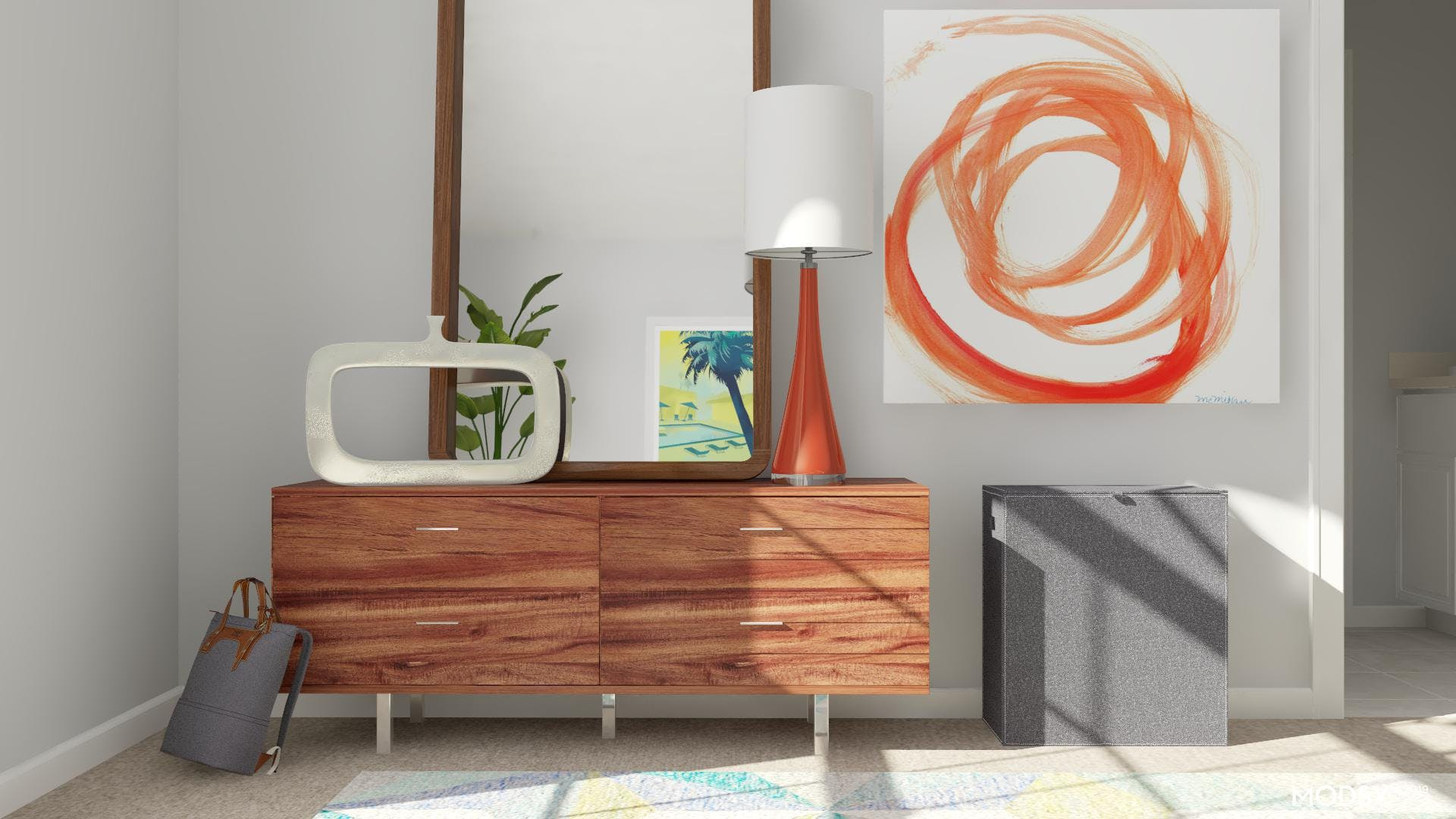 Minimal Modern Dresser With A Tropical Swirl