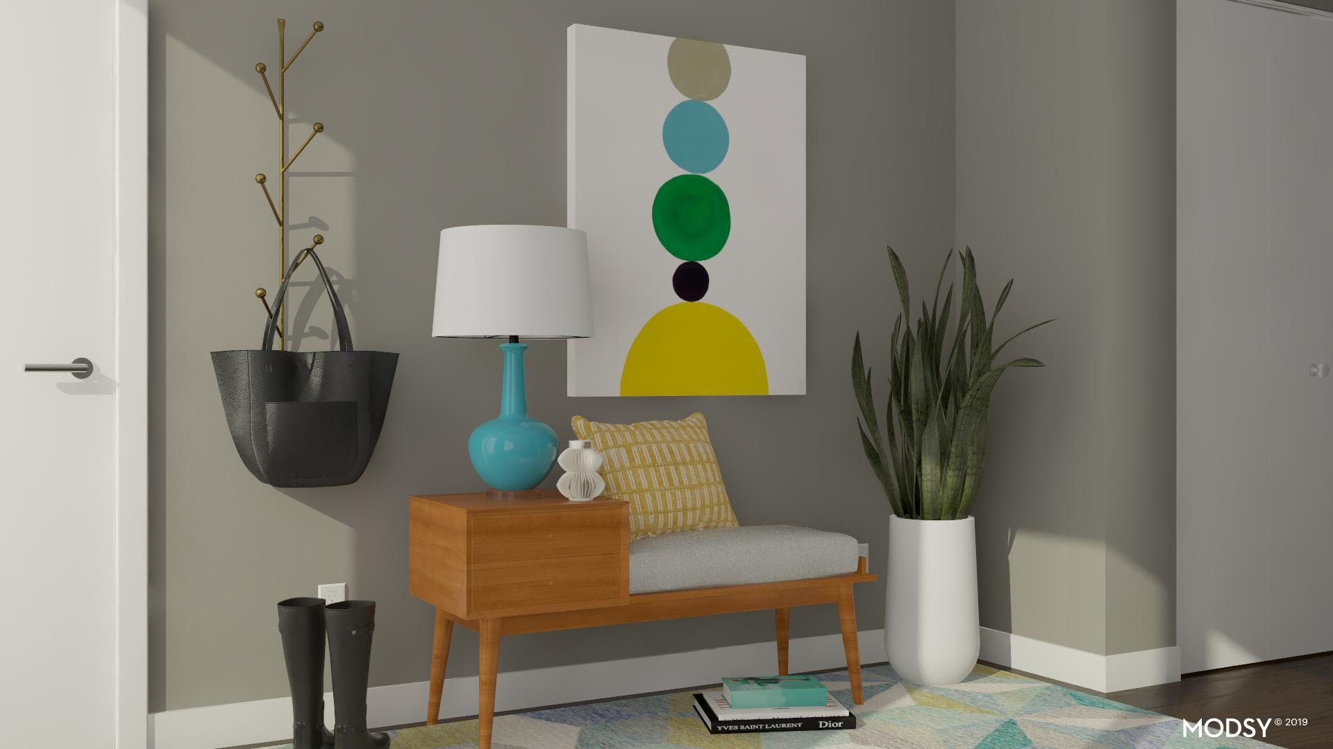 A Fun And Bright Mid-Century Entry