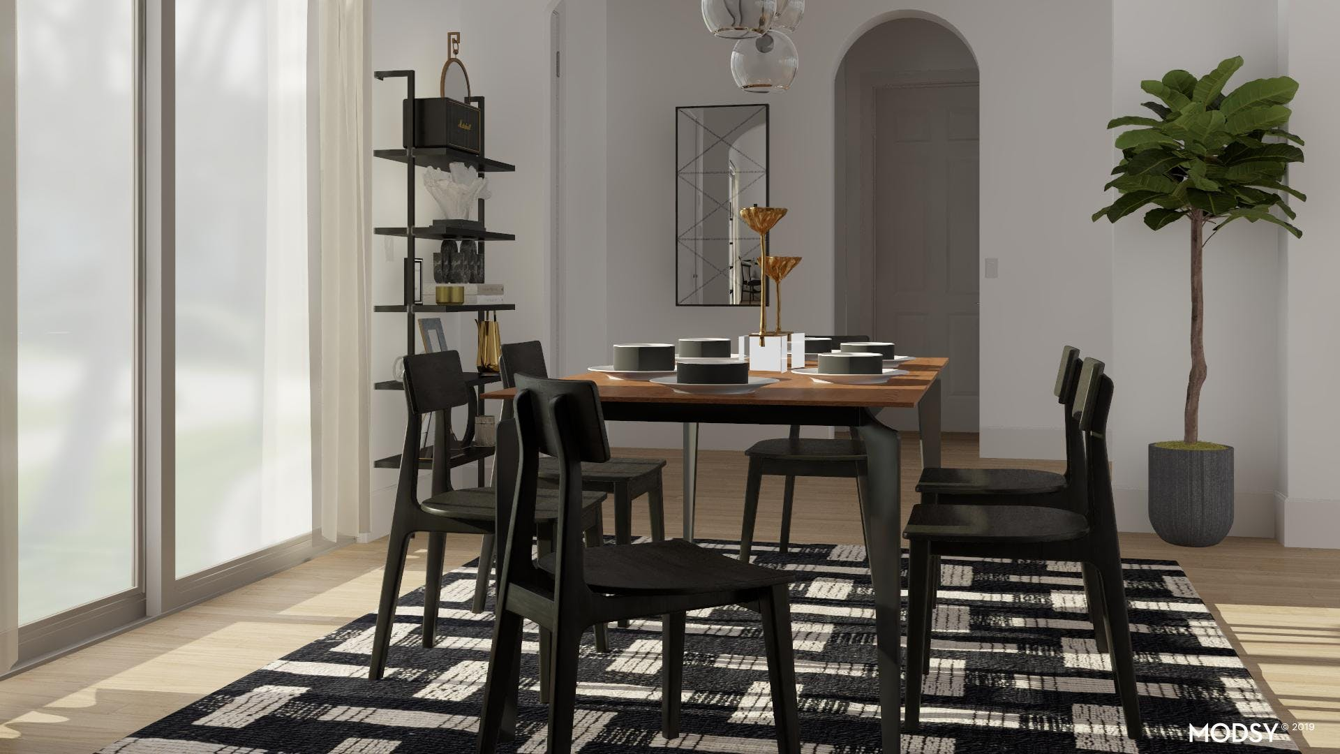 Black And Brass Dining