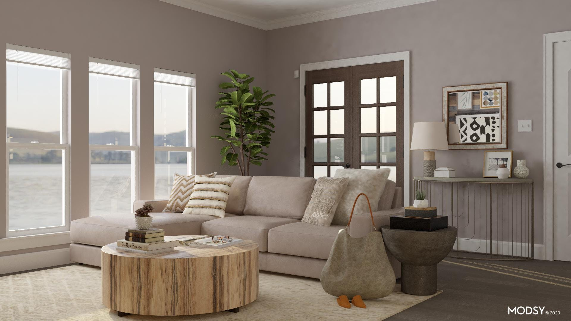 Neutral Toned Eclectic Living Room