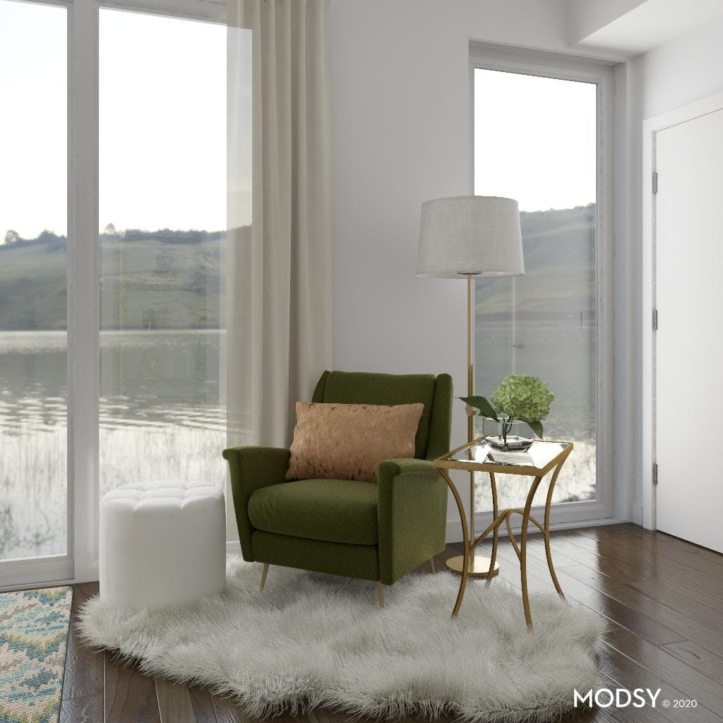 Transitional Green Accent Seating
