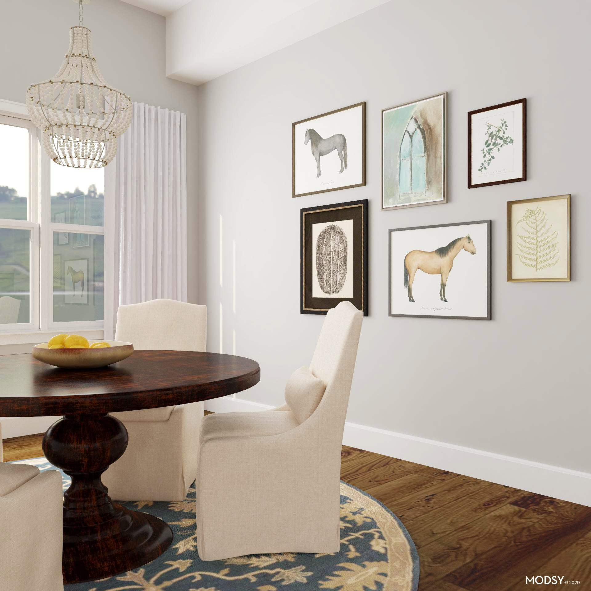 Equestrian Accented Gallery Wall in Traditional Dining Room
