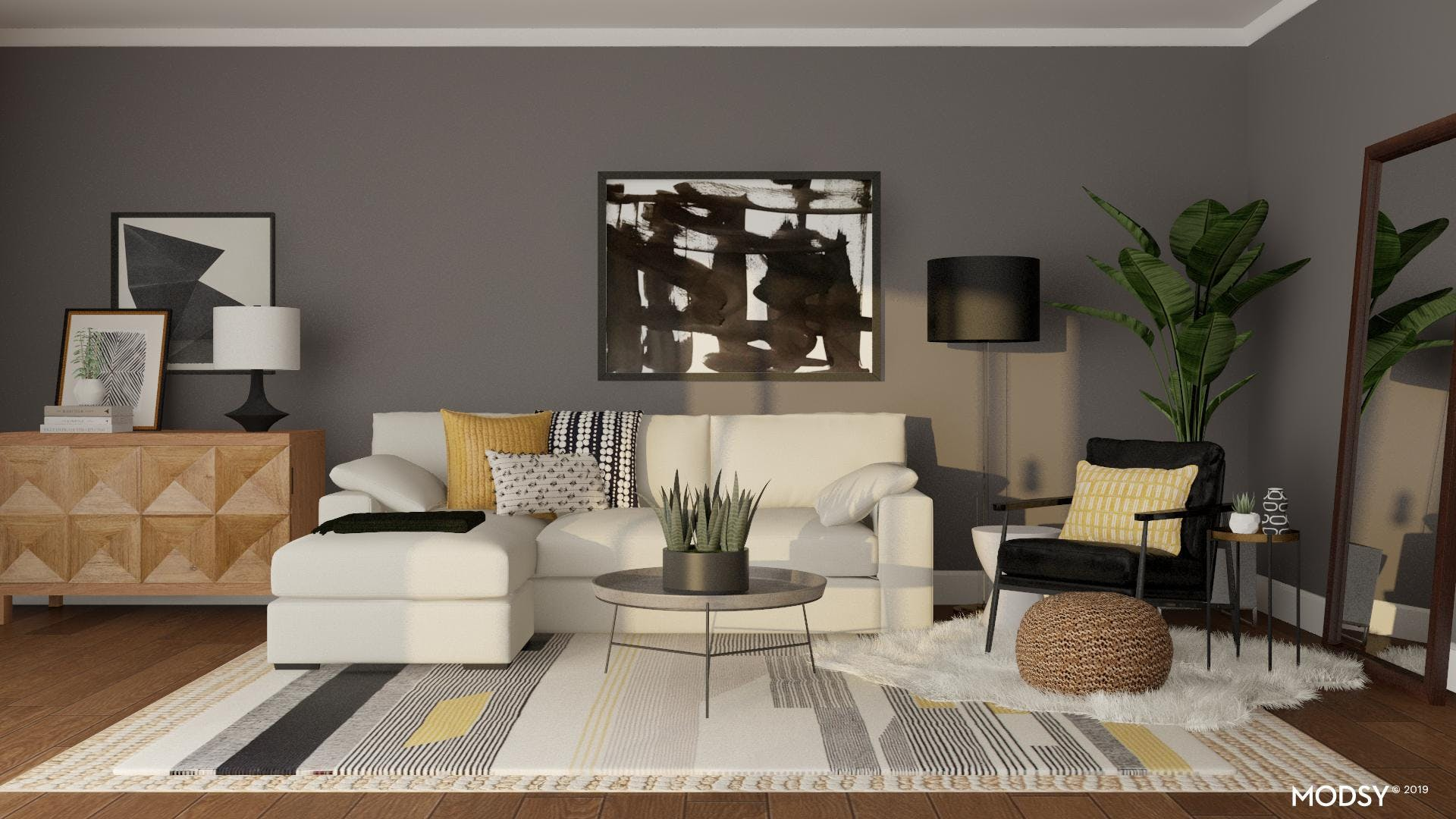 High Contrast Eclectic Living Room