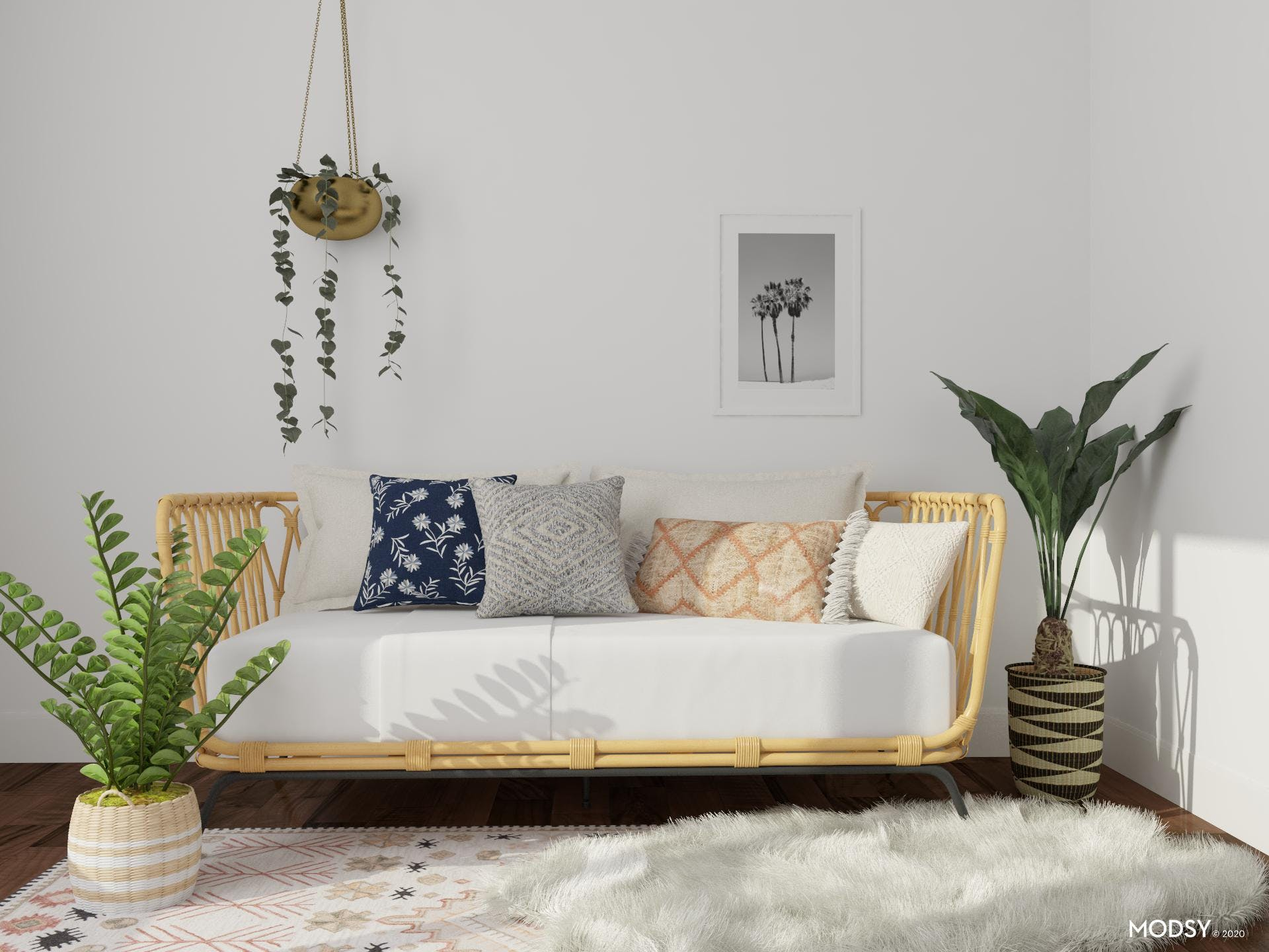 An Eclectic Bedroom With A Vertical Jungle