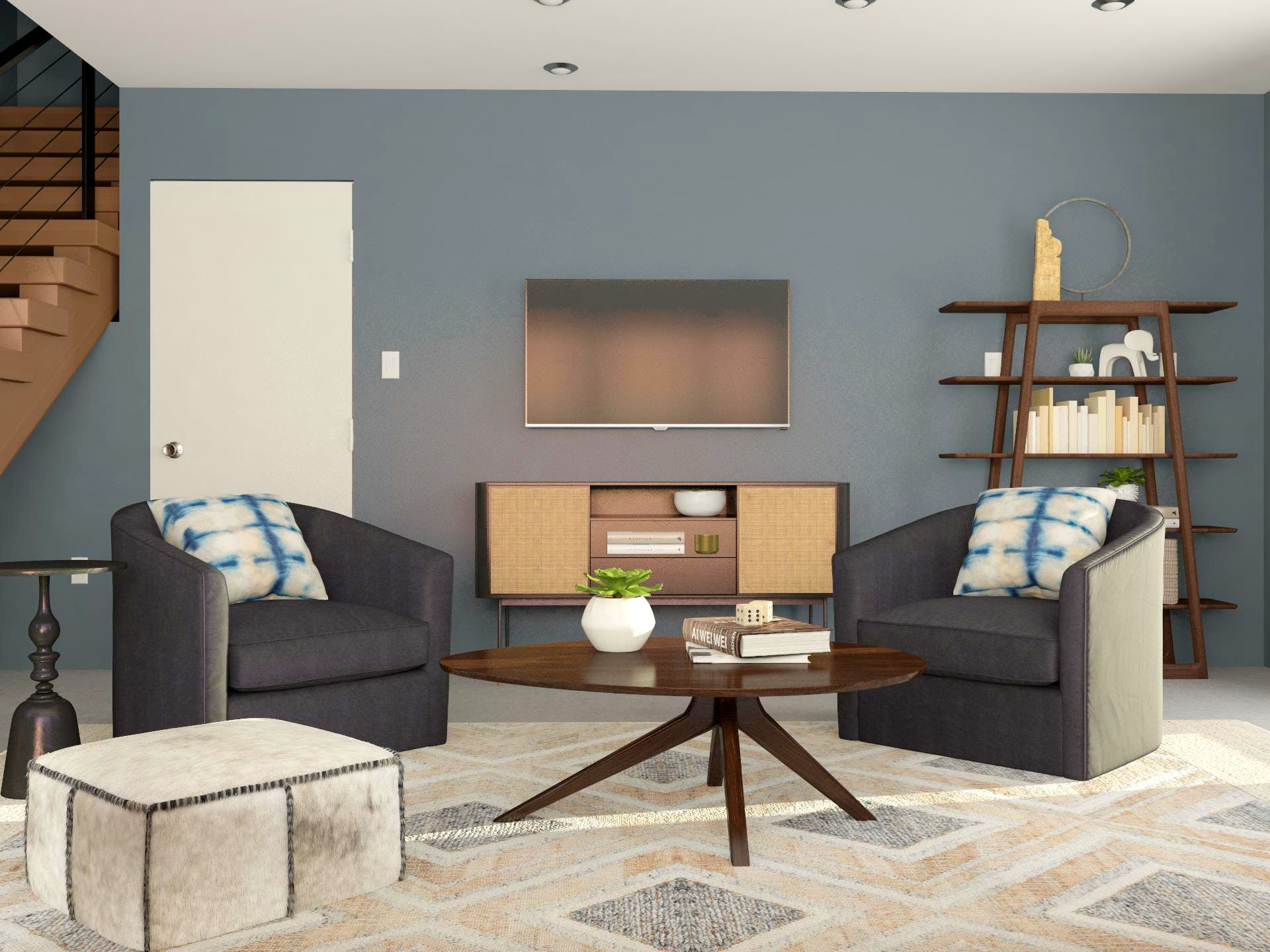 Moody Living Room In Dark Tones With Contemporary Styling