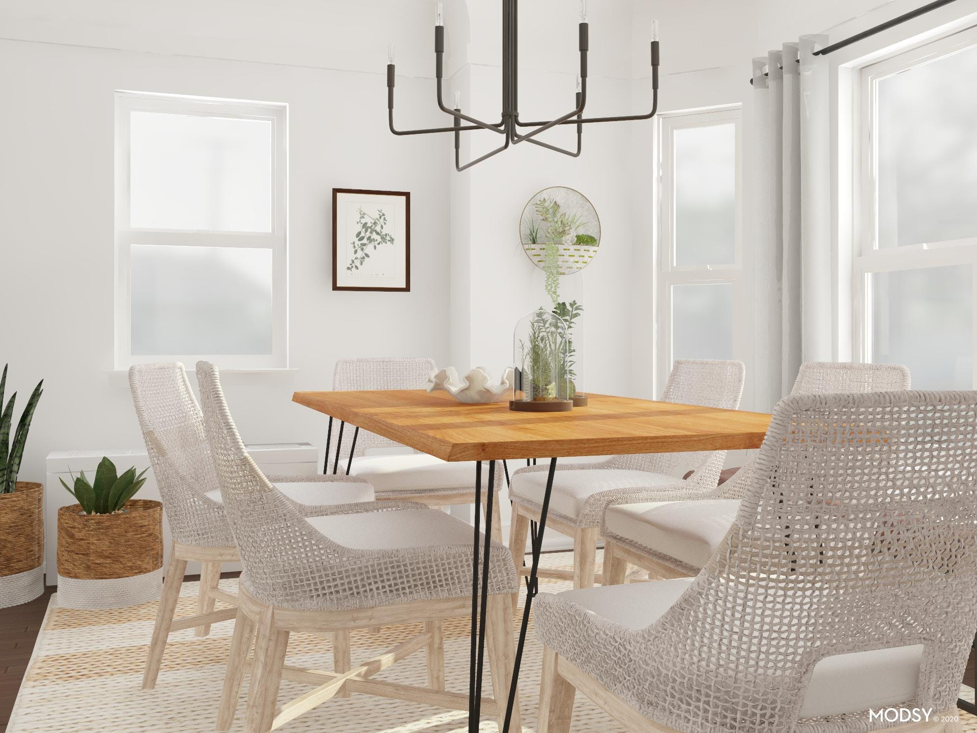 Neutral Dining: Touch Of Greenery
