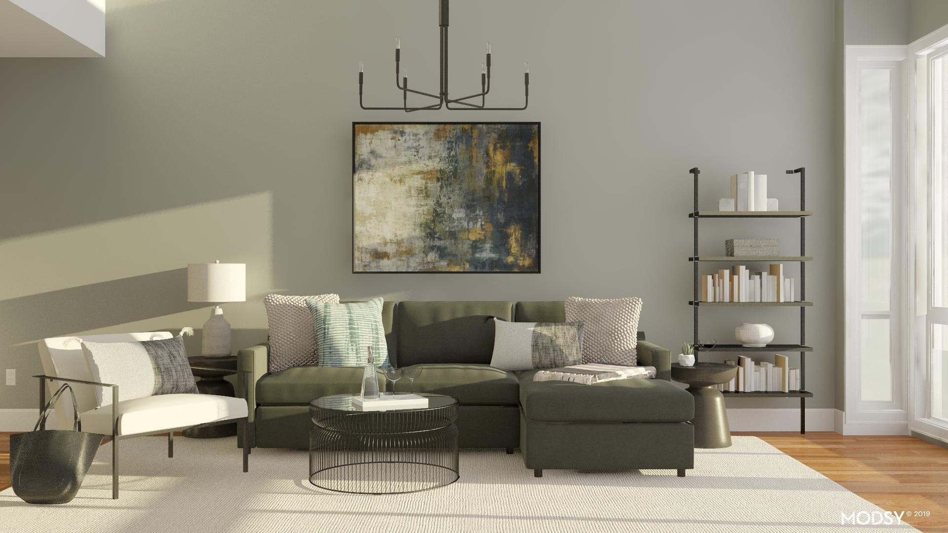 Neutral Living Room with High Contrast