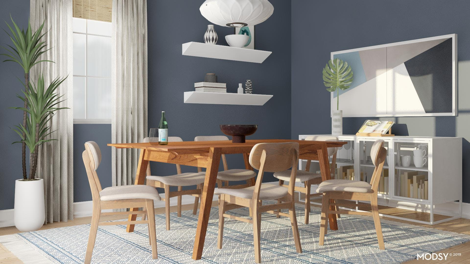 Modern Dining Room:  Blue and White