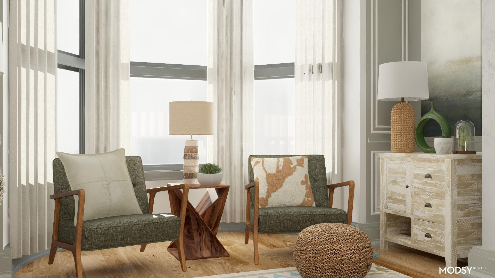 Masculine Living Room In Green
