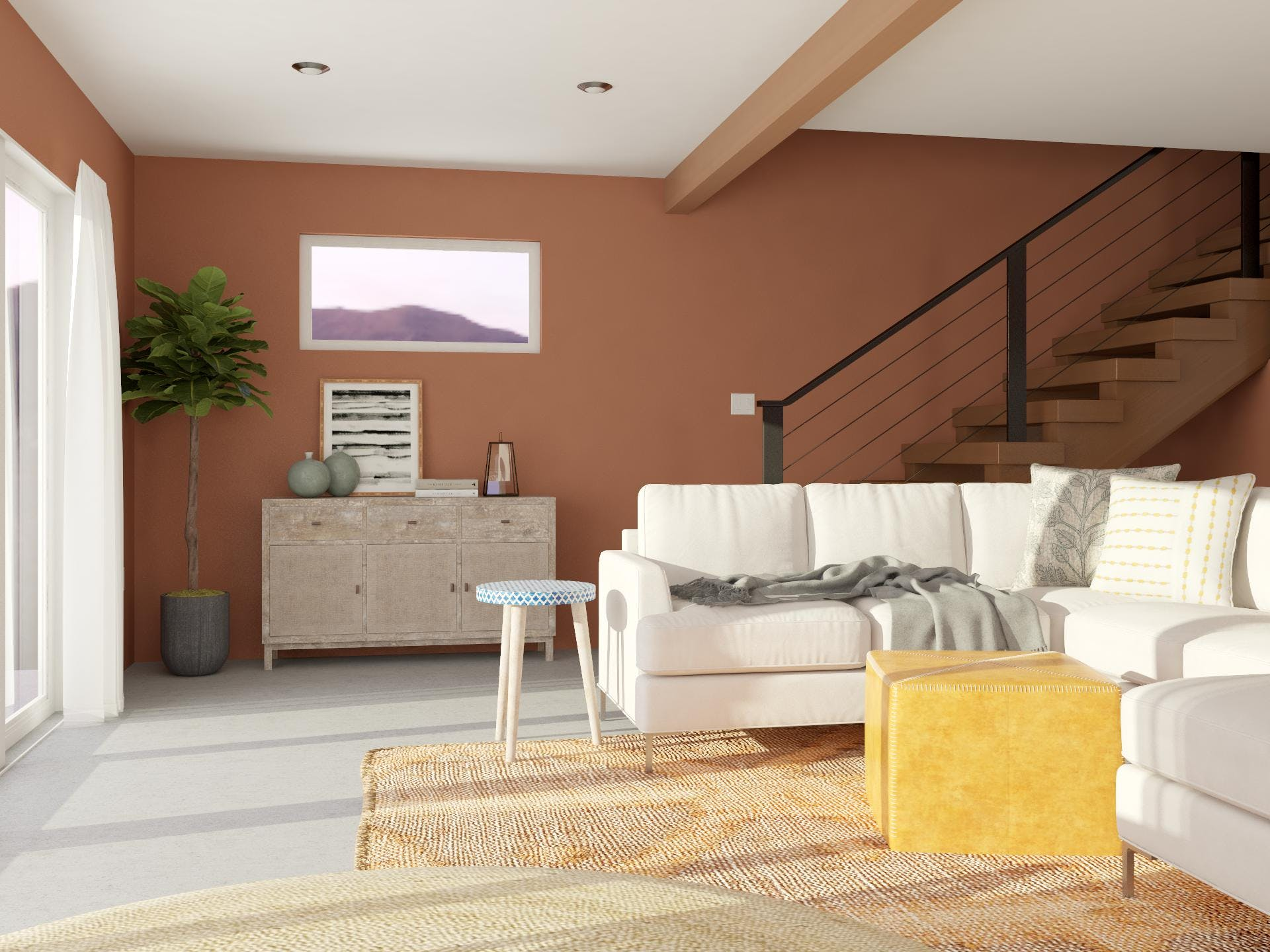 Contemporary Living Room With Striking Earth Tones
