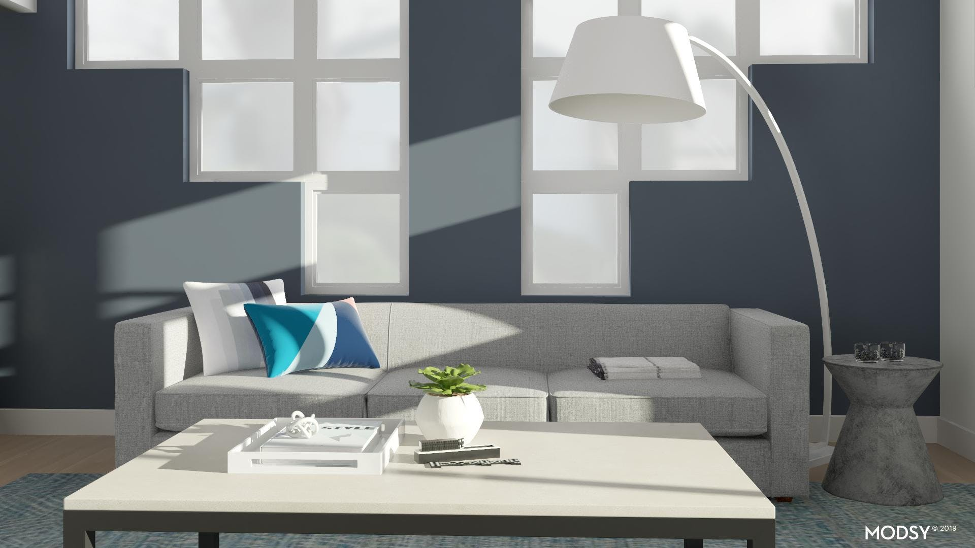 Cool Tones In A Modern Living Room