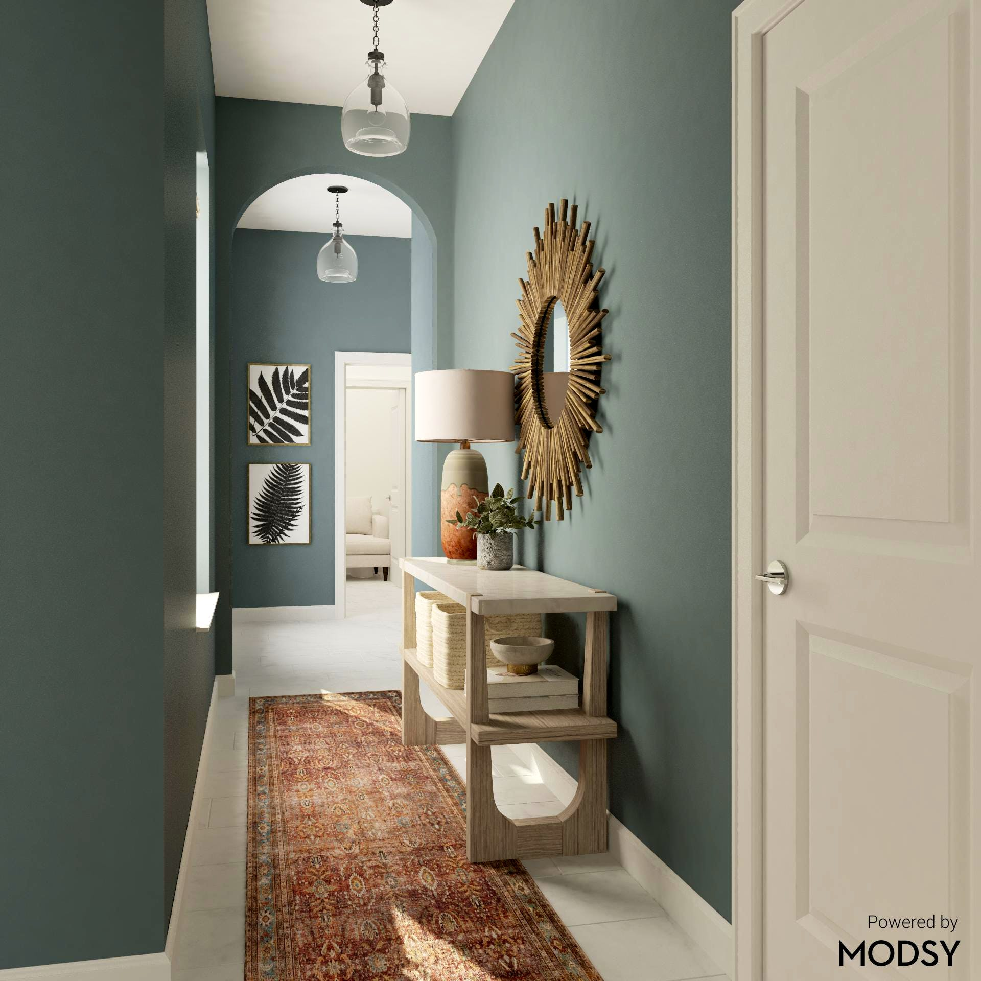 Transitional Entryway in Cool Blue Green