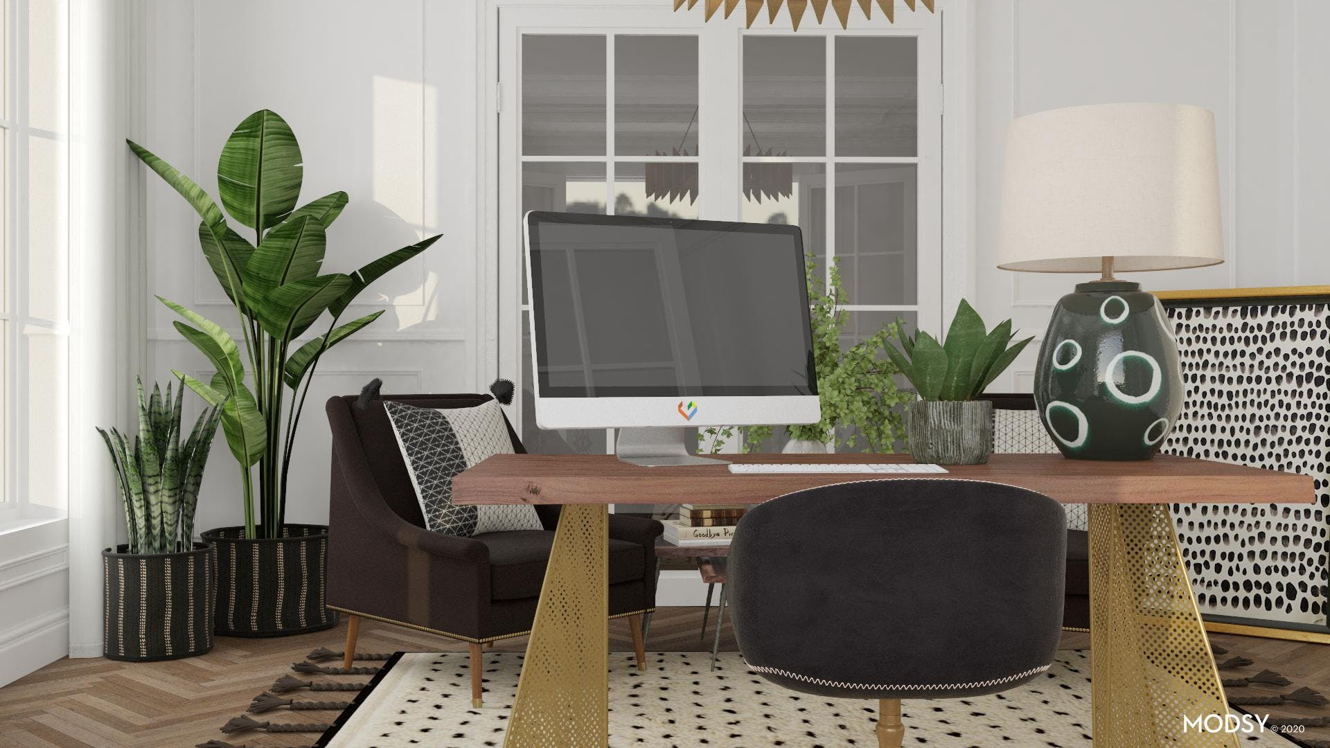 Textured Layers In An Eclectic Home Office