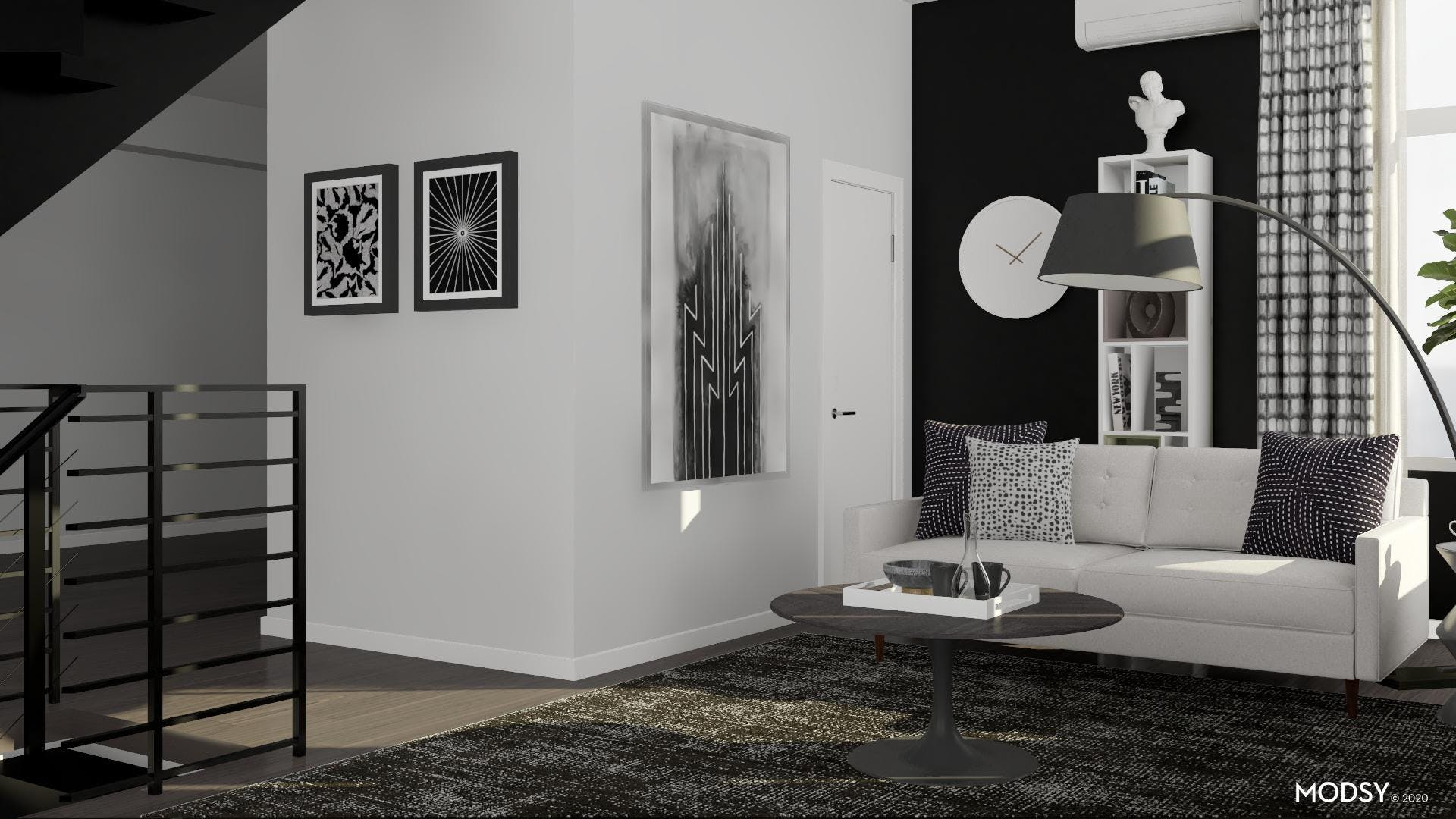 Adding Visual Interest to a Modern Monochromatic Living Room