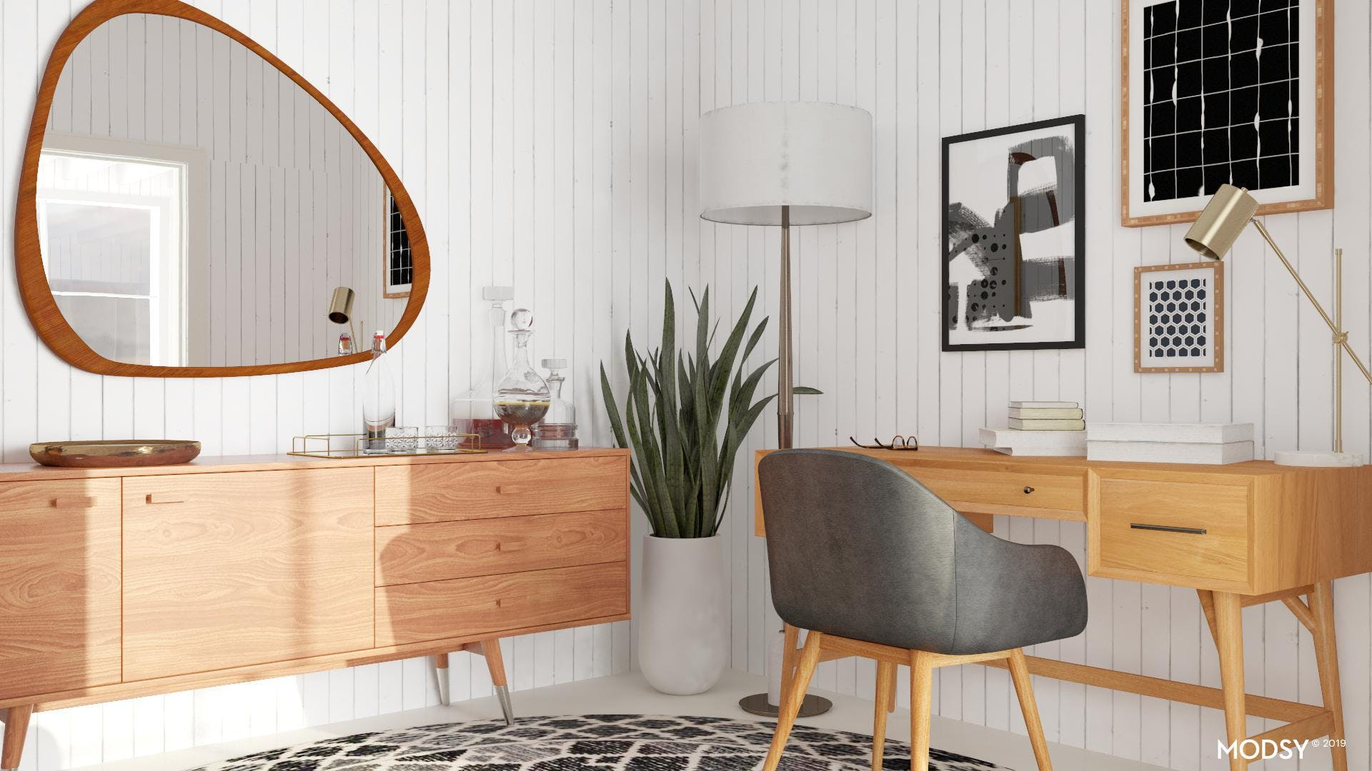 Black and White Mid-Century Office