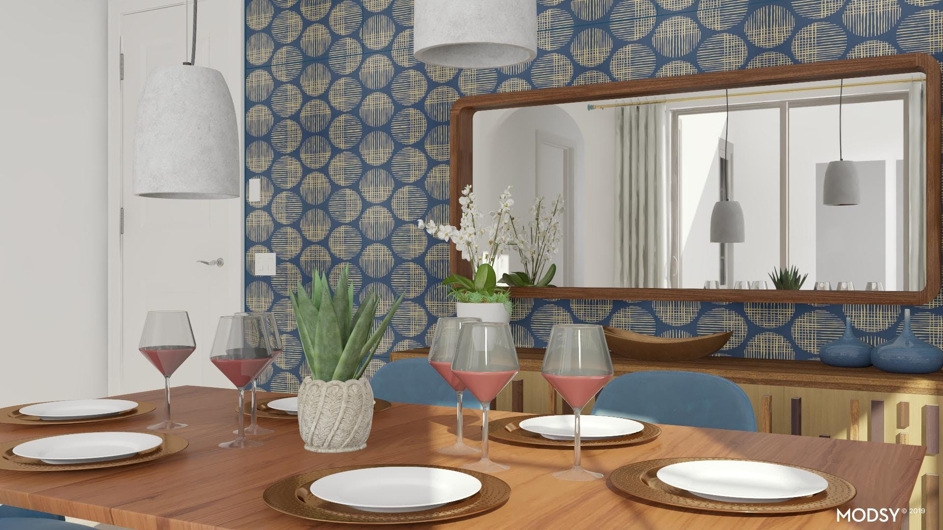 Warm Woods And Blues: Dining Room