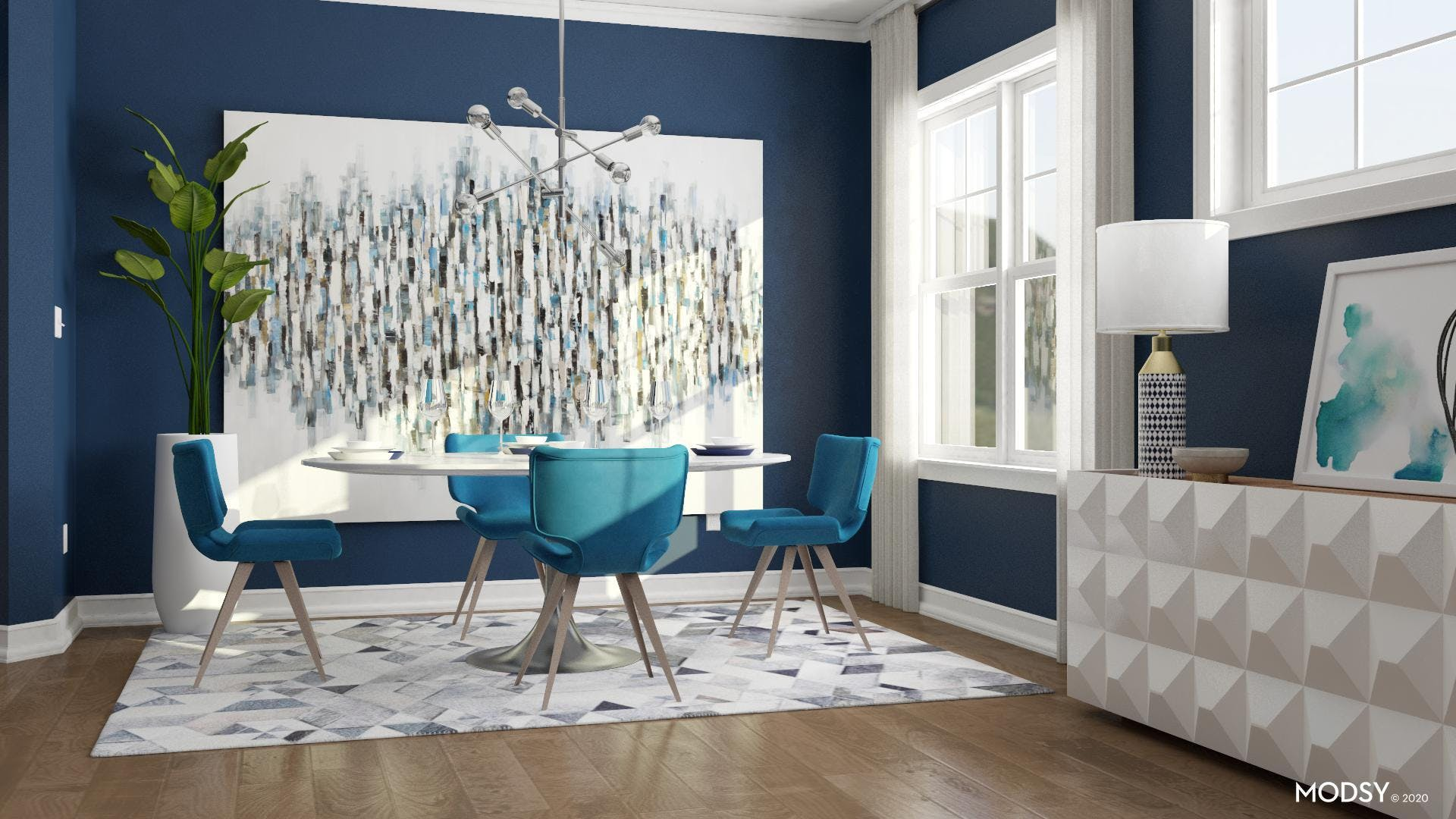 Oversized Art Makes The Dining Room