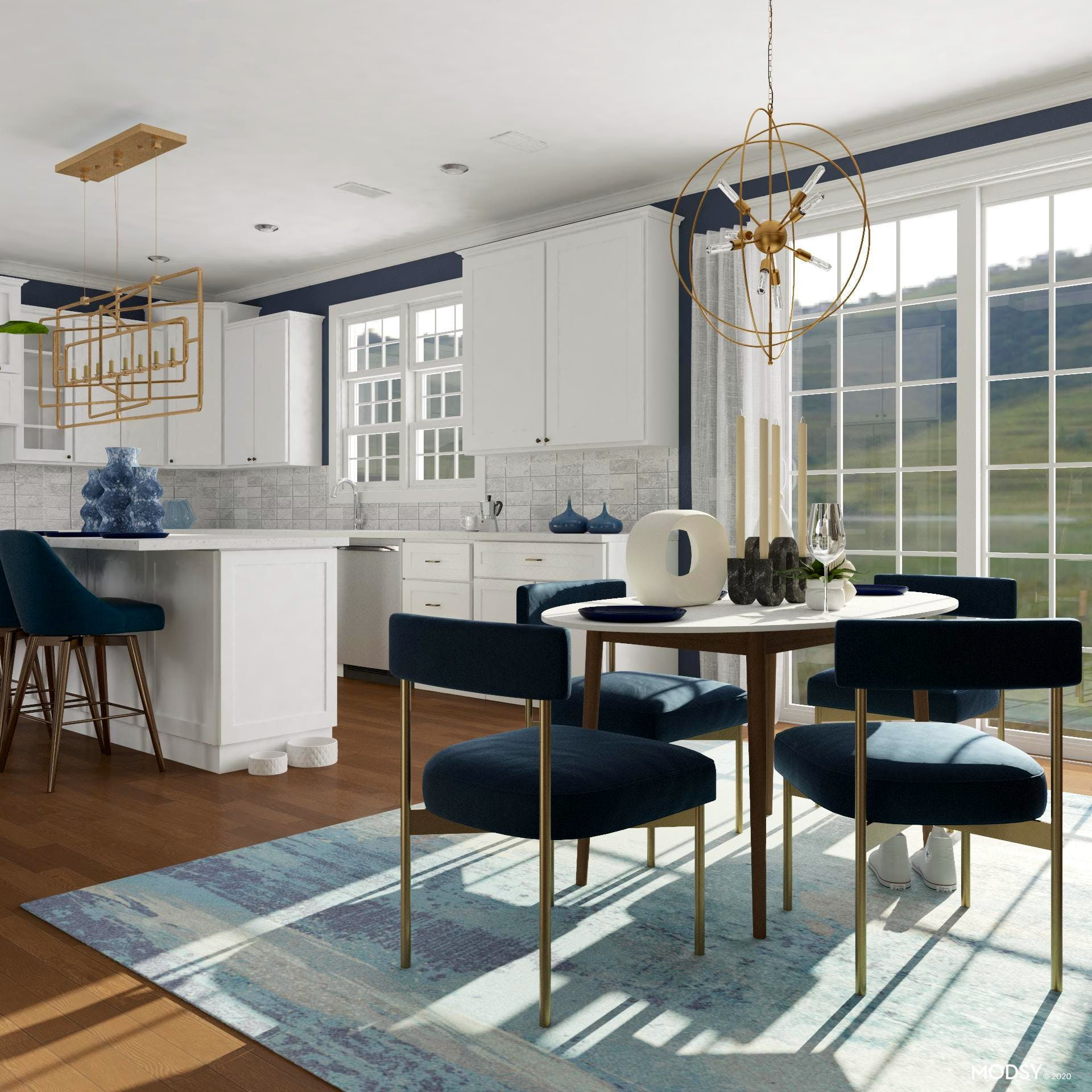 Modern, Blue Eat-In Kitchen And Dining Room
