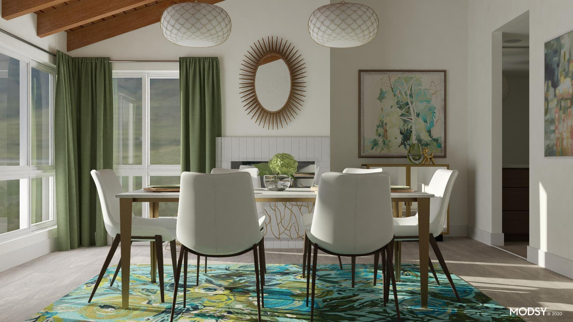 Green Themed Dining Room