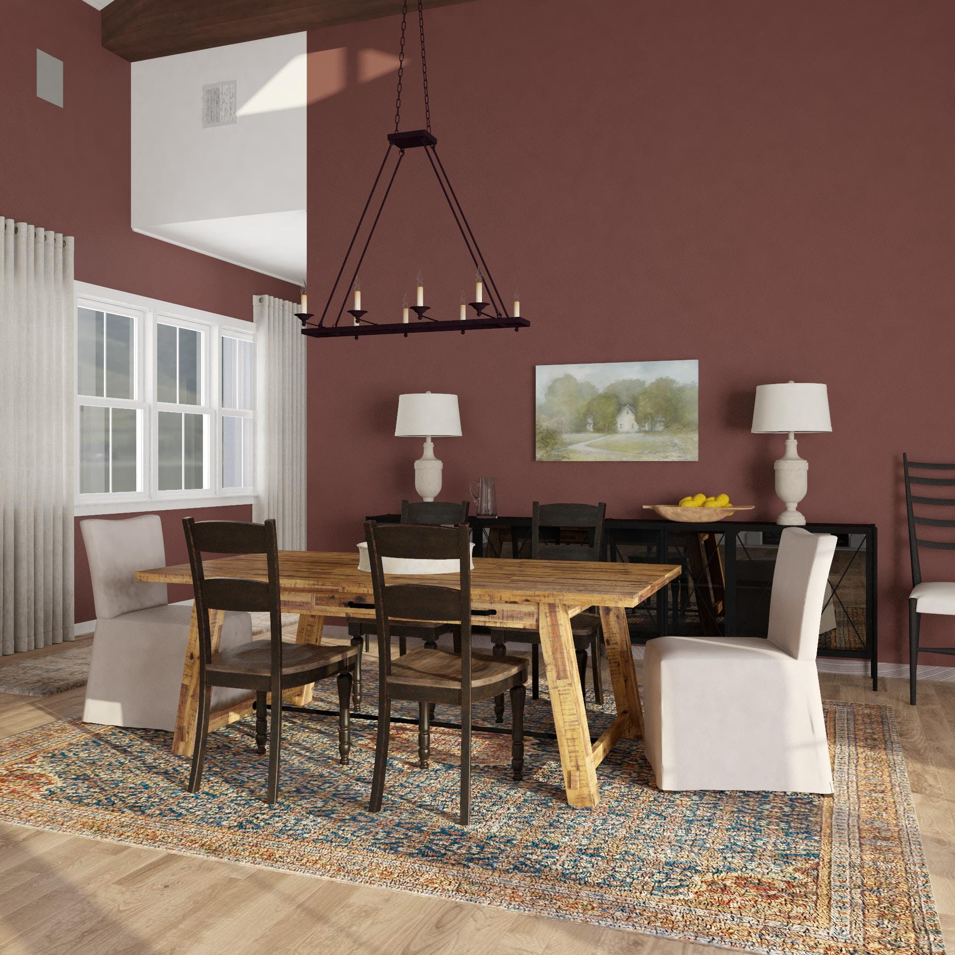 New Traditional Dining Room with Rustic Flare