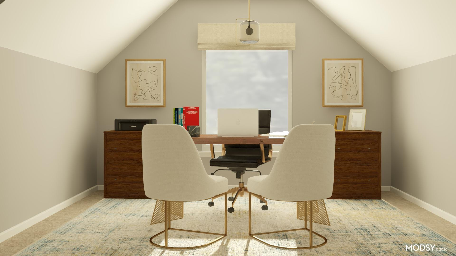Neutral and Contemporary Inviting Office