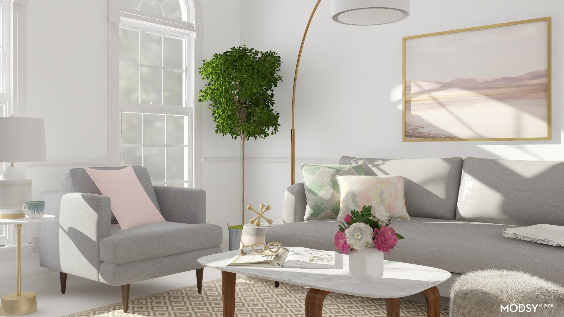 Pastel Colors In A Modern Living Room