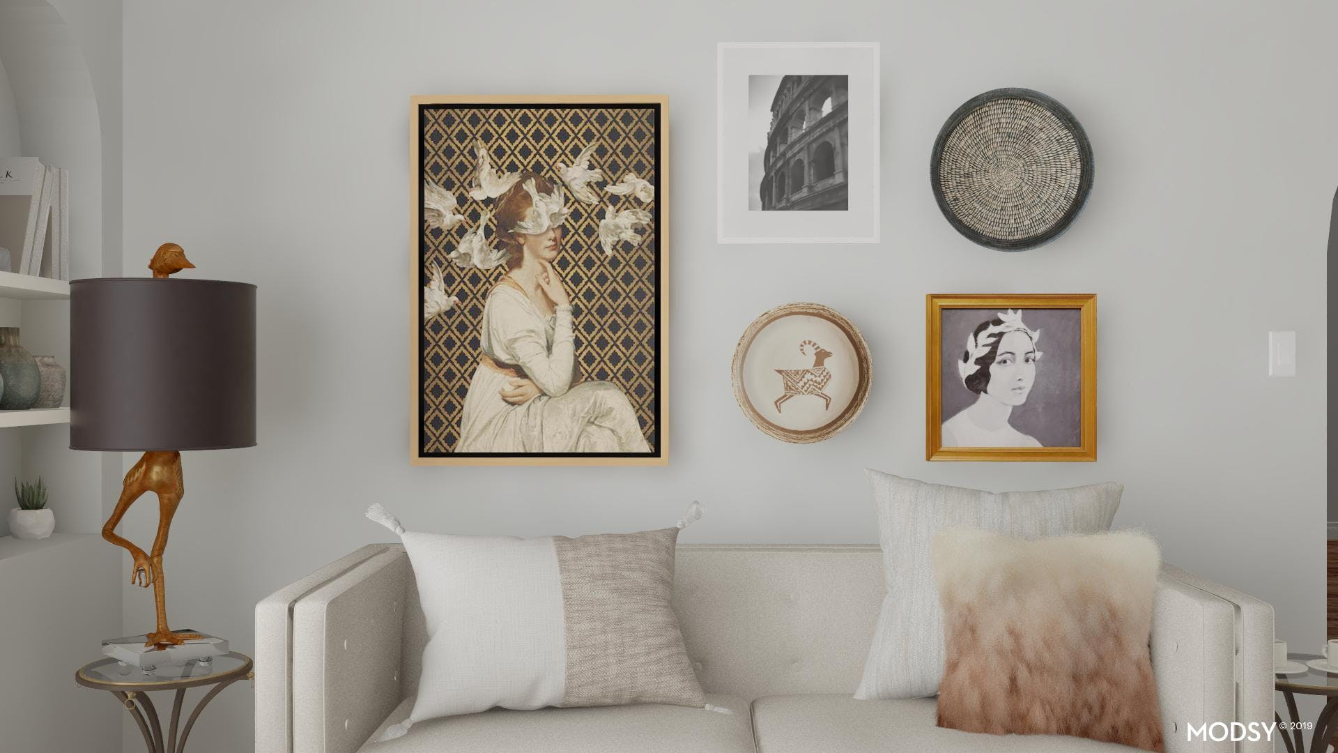 Cohesive and Simple Eclectic Accent Wall