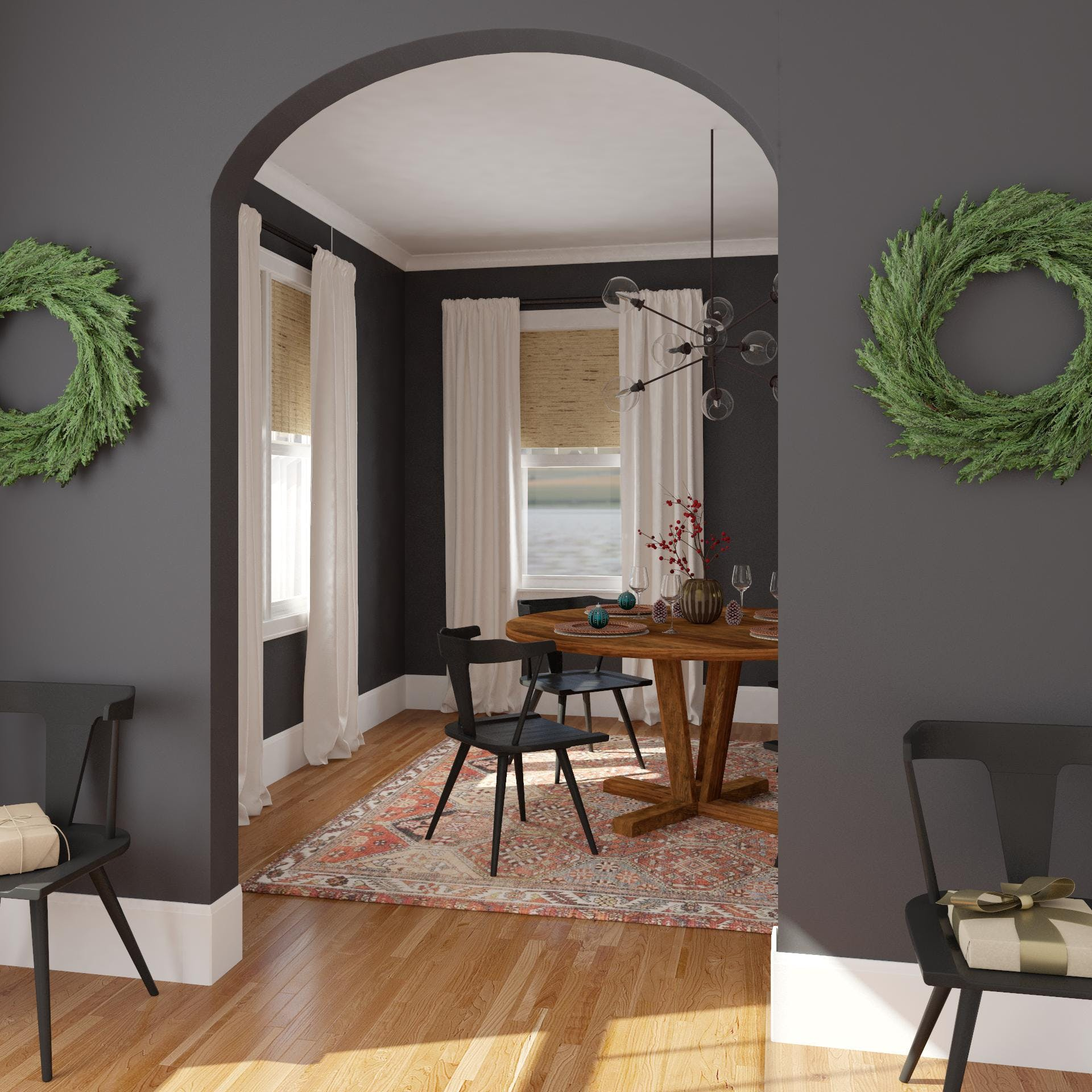 A Modern Rustic Holiday Dining Room